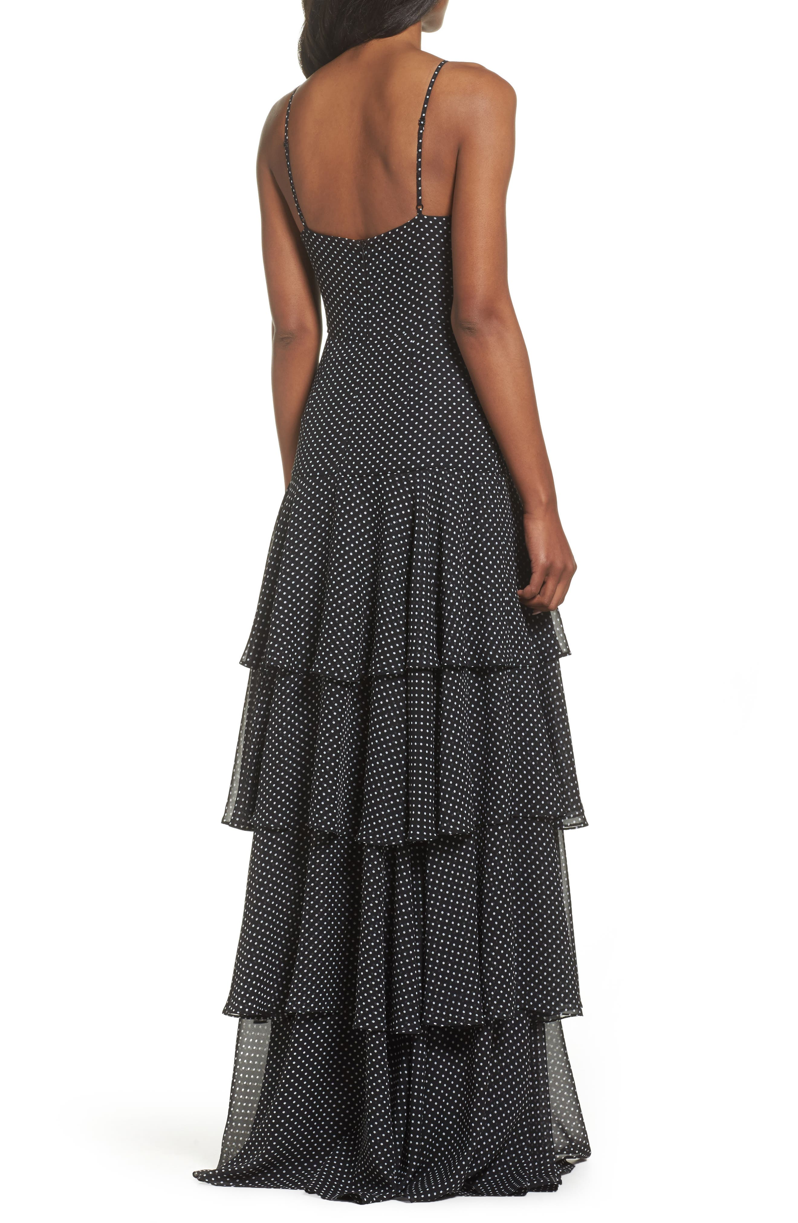 Polka Dot Tiered Gown,                             Alternate thumbnail 3, color,                             Black/ White