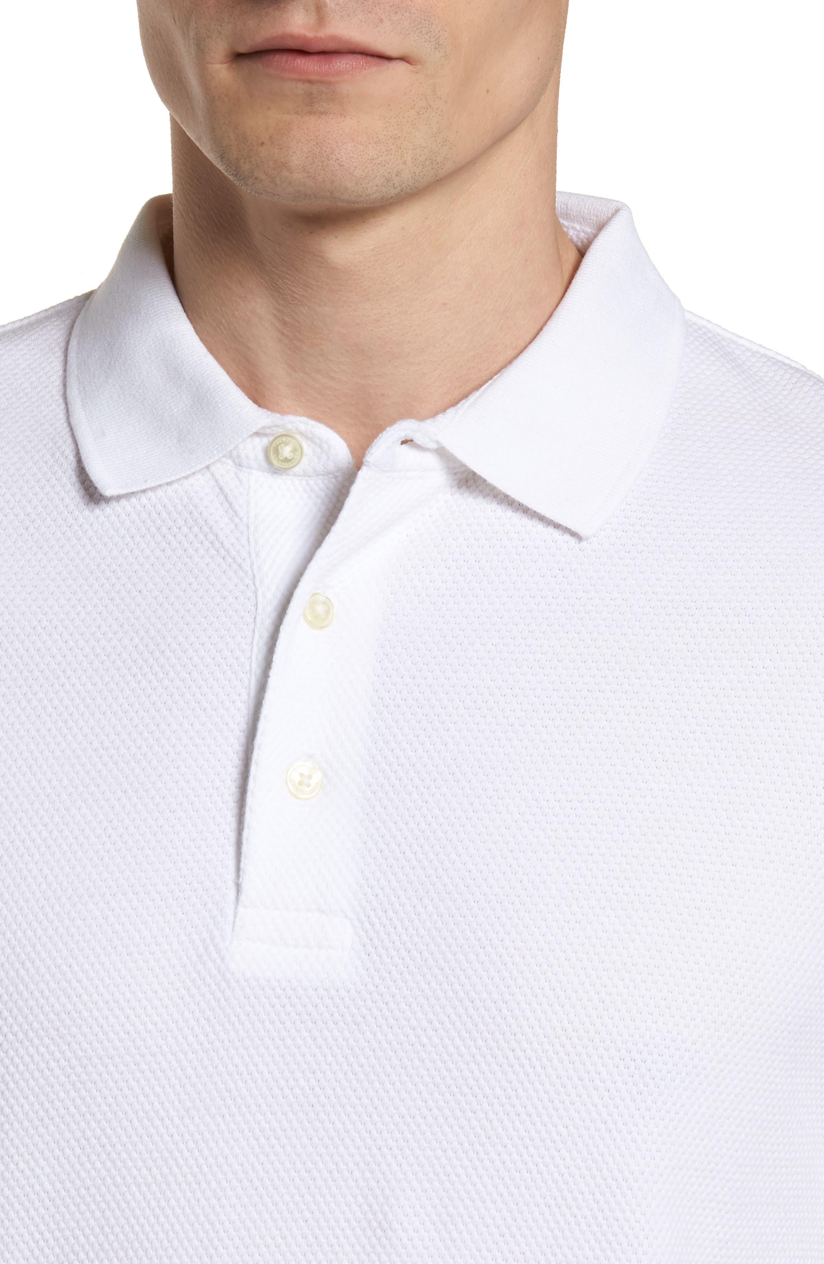 Ampthill Pebble Knit Polo,                             Alternate thumbnail 4, color,                             White
