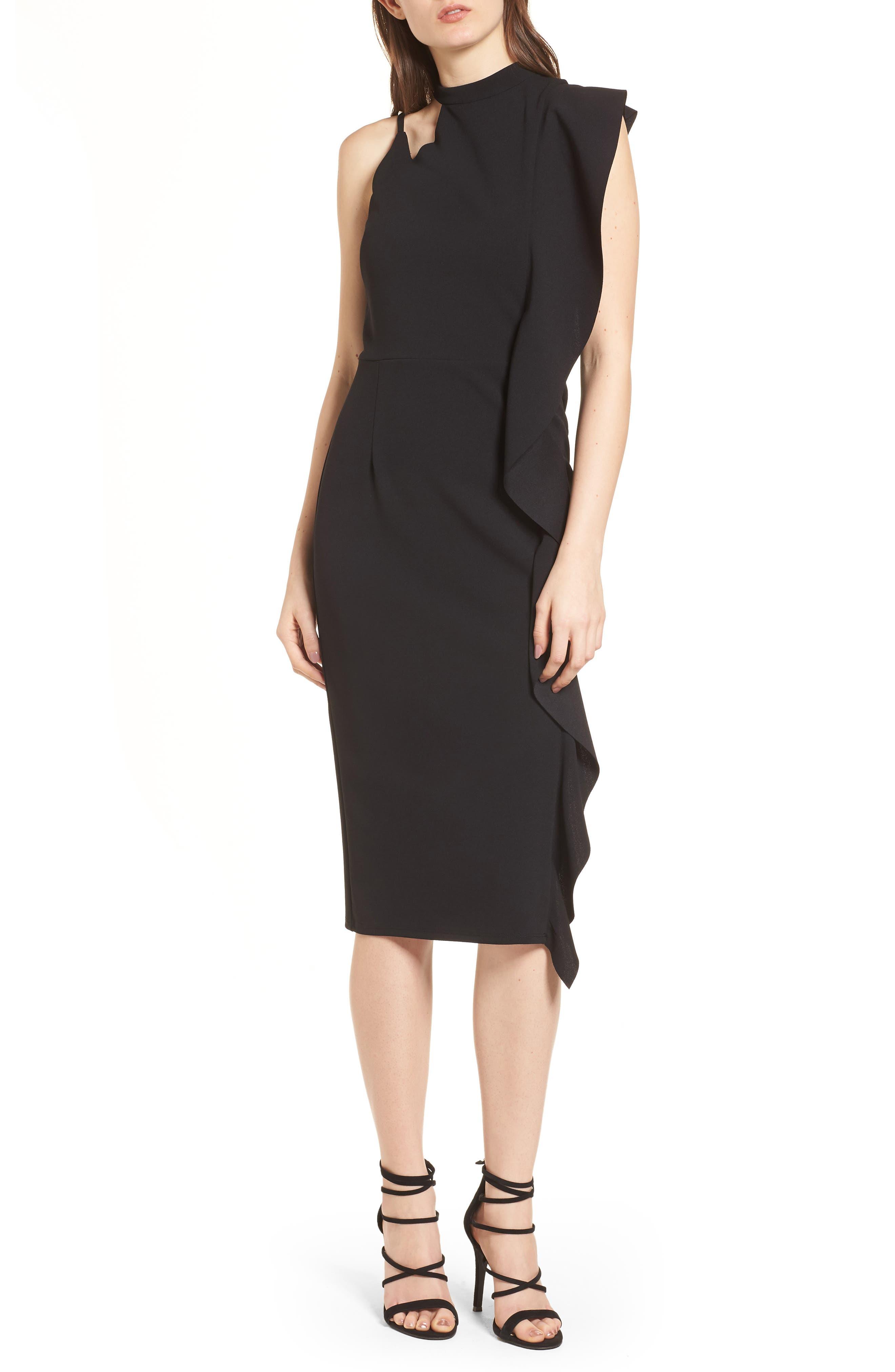 Asymmetrical Ruffle Midi Dress,                         Main,                         color, Black
