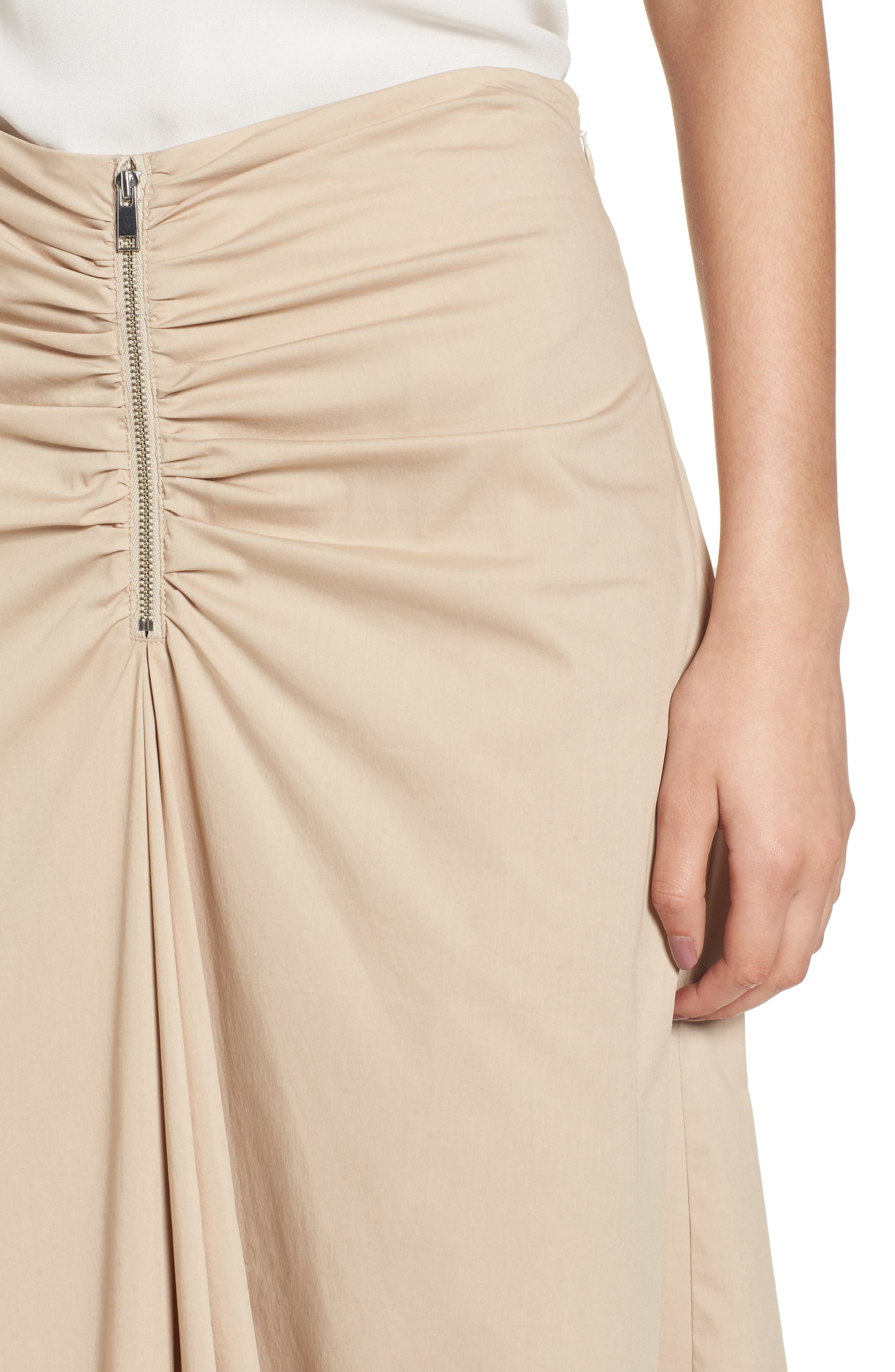 Ruched Front Midi Skirt,                             Alternate thumbnail 5, color,                             Tan Oxford