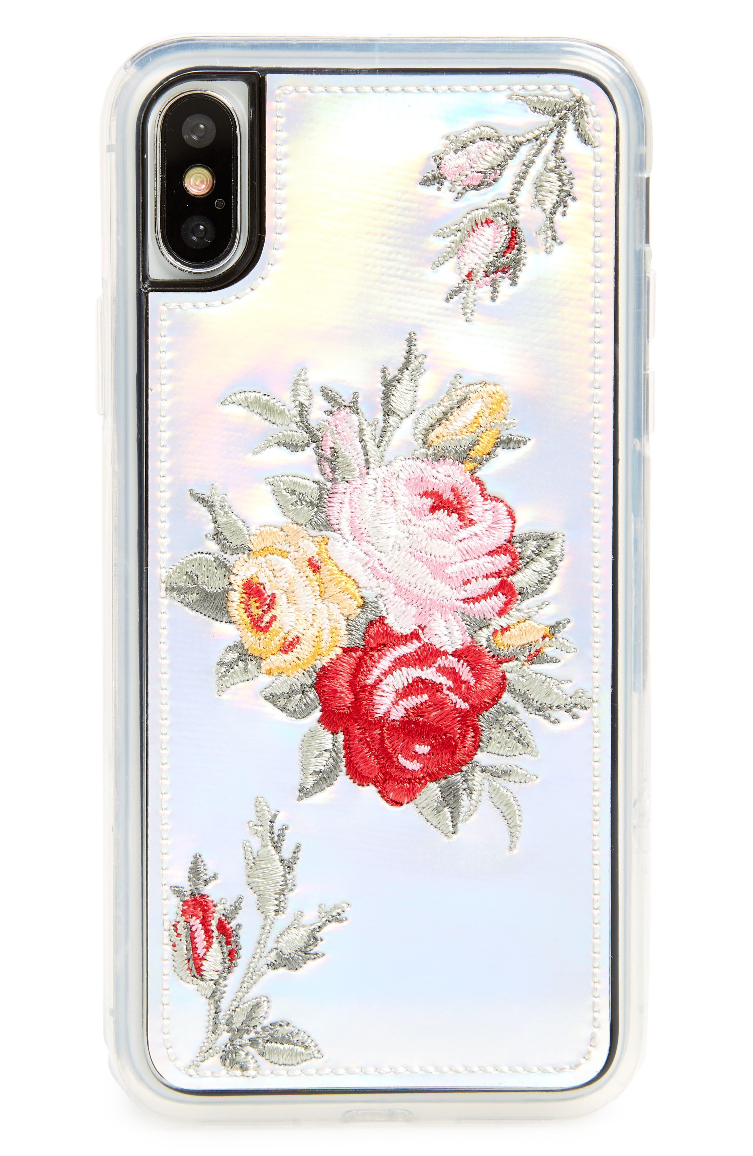 Bouquet iPhone X Case,                             Main thumbnail 1, color,                             Holographic