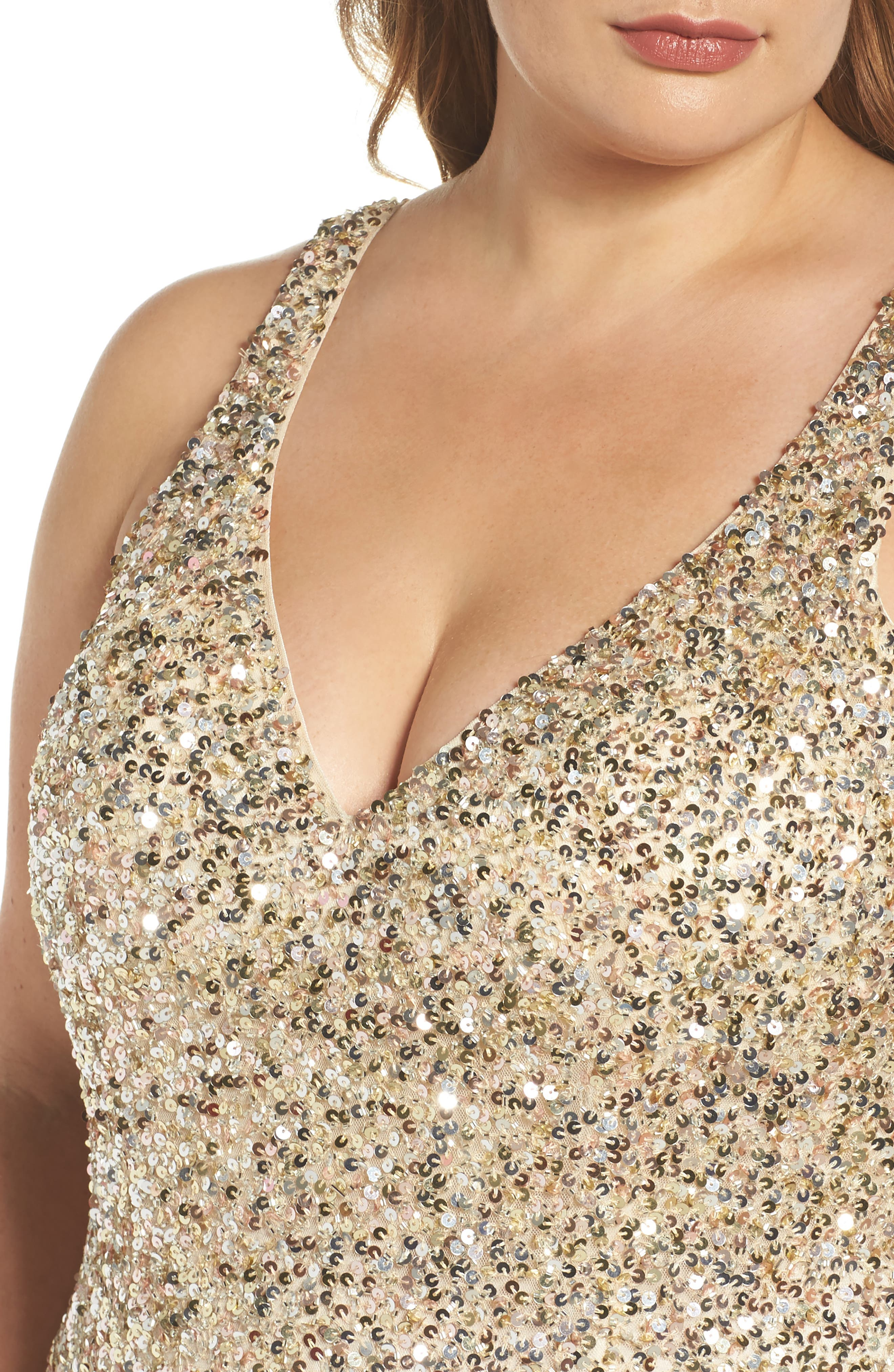 Front Slit Sequin Gown,                             Alternate thumbnail 4, color,                             Gold Multi