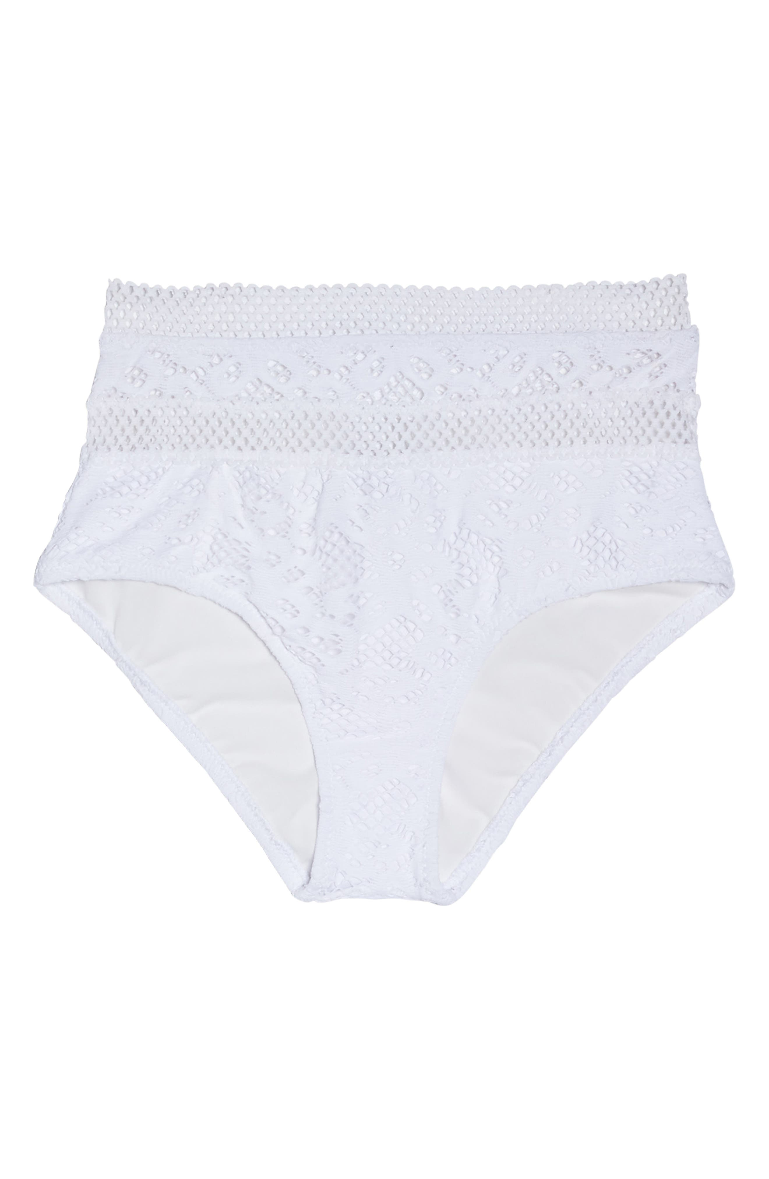 Captured High Waist Bikini Bottoms,                             Alternate thumbnail 6, color,                             White