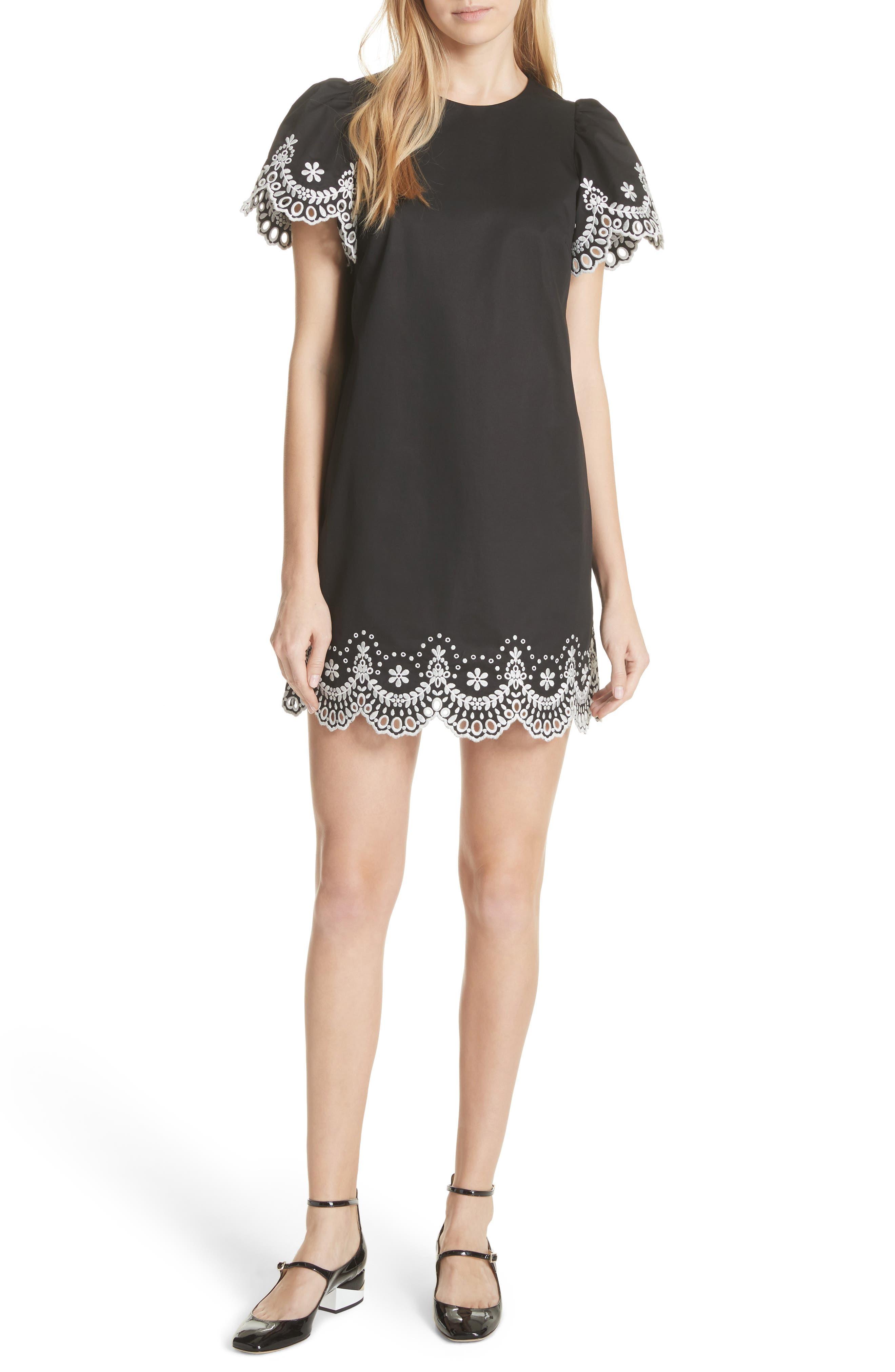 embroidered cutwork minidress,                             Main thumbnail 1, color,                             Black