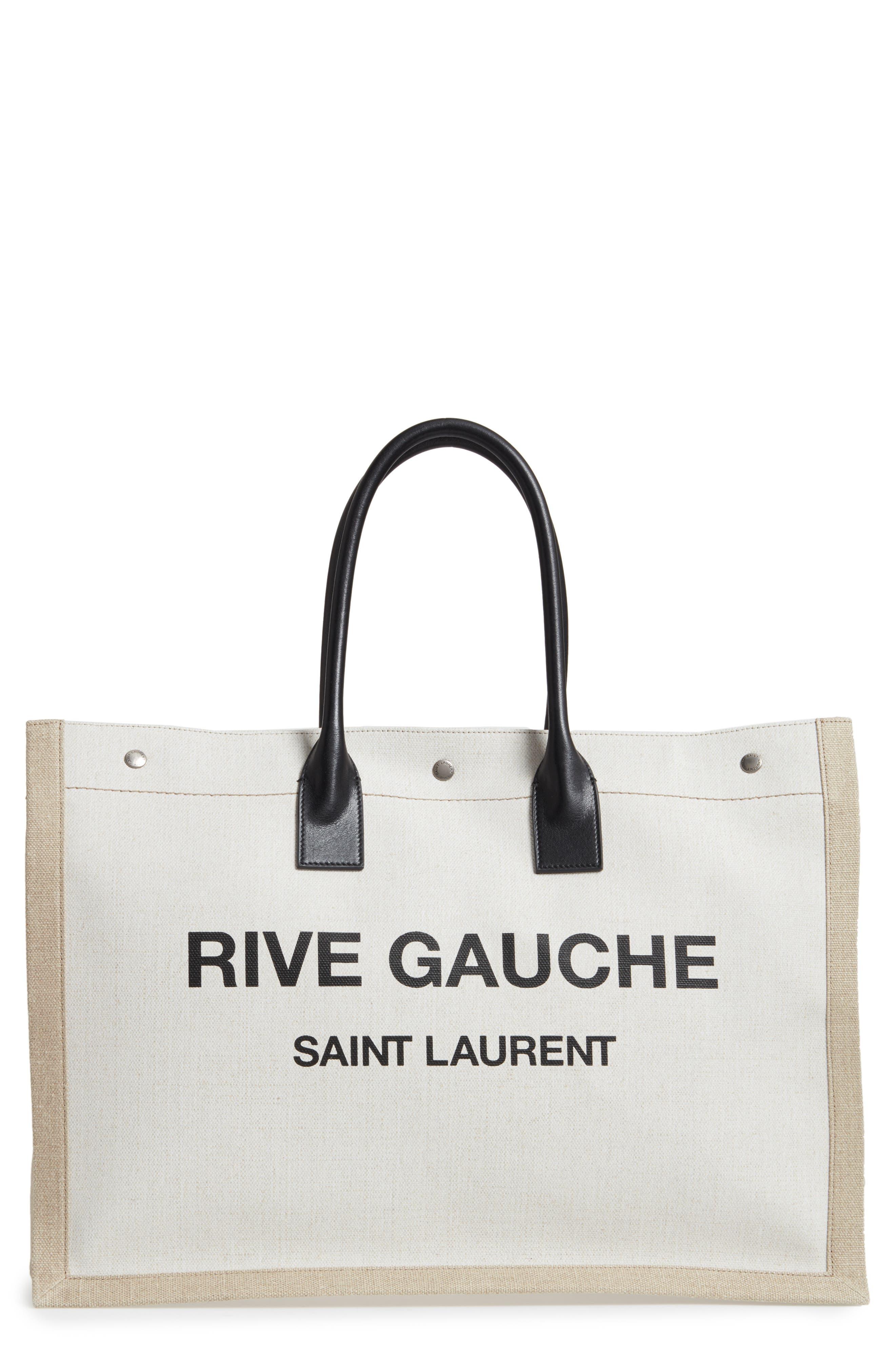 Saint Laurent Noe Rive Gauche Logo Linen Tote