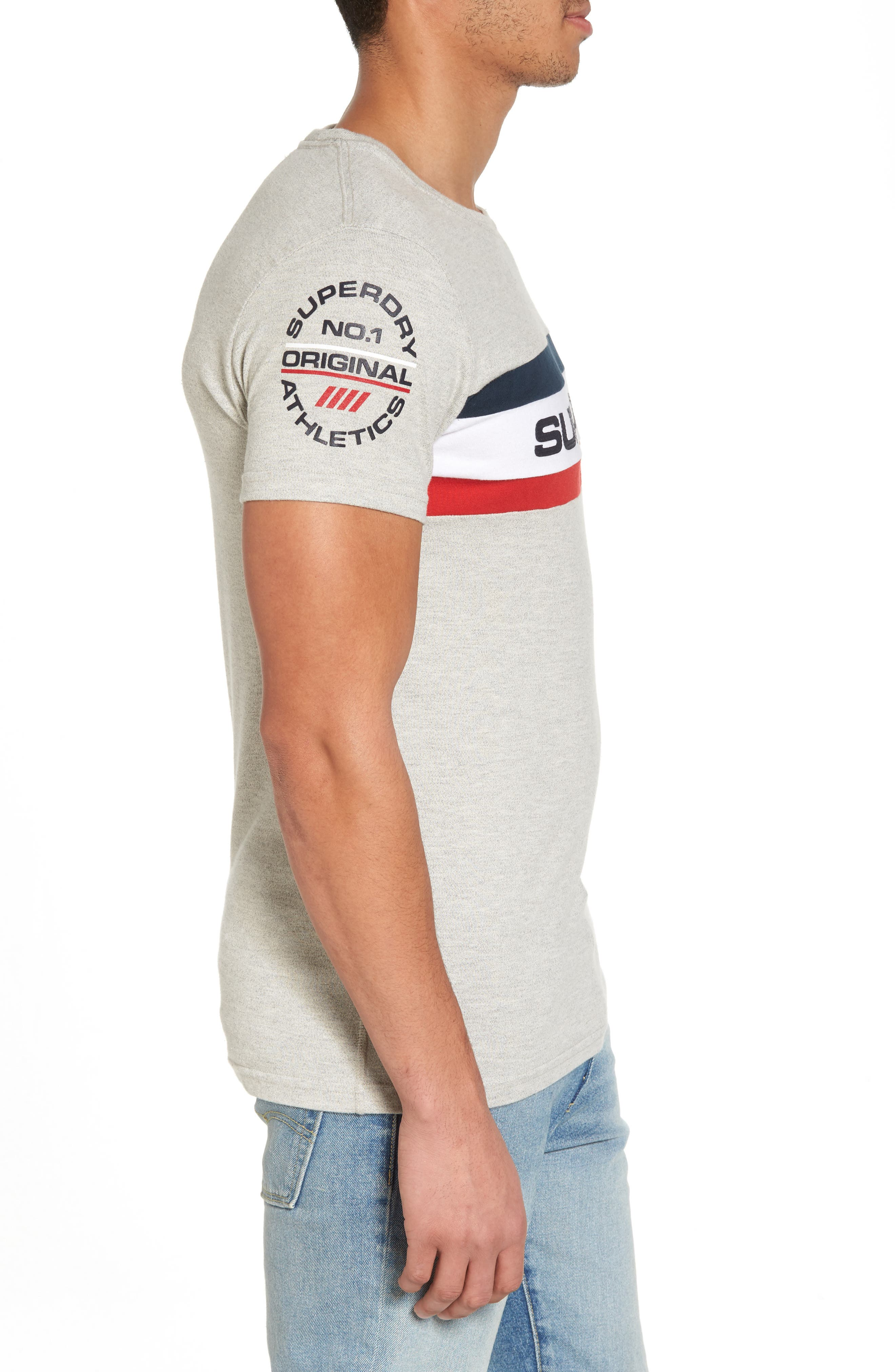Trophy Chest Band T-Shirt,                             Alternate thumbnail 3, color,                             Superdry Stadium Grey Grindle
