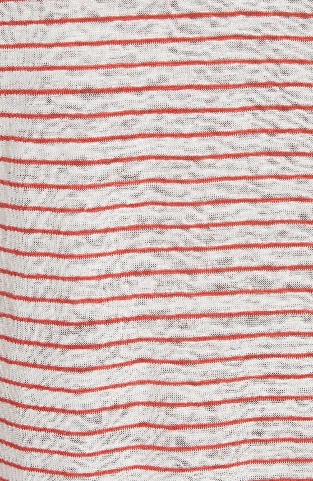 Kade Stripe Linen Tank,                             Alternate thumbnail 5, color,                             Red/ White