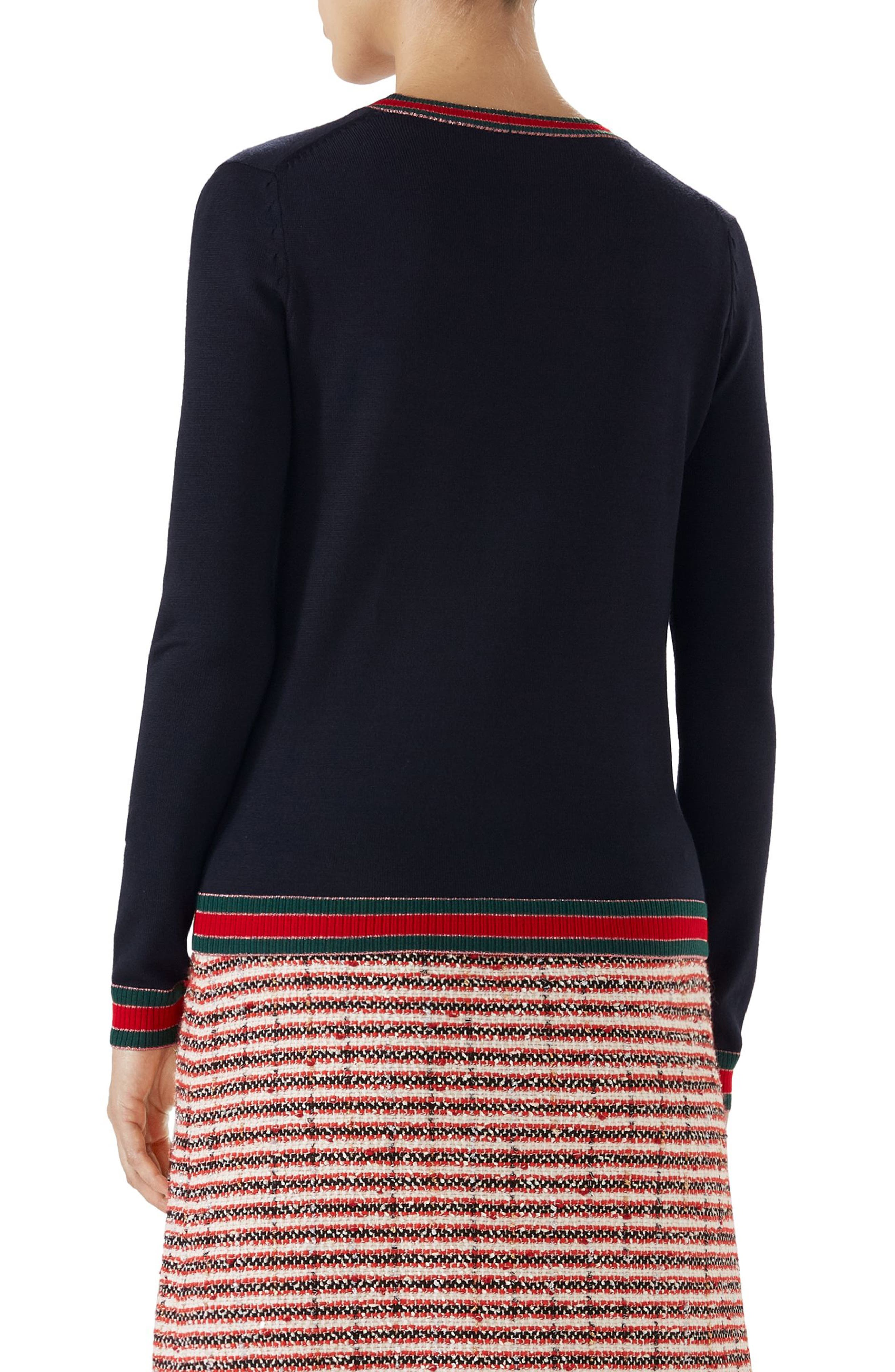 Stripe Trim Wool Cardigan,                             Alternate thumbnail 2, color,                             C Blue/V/R/V/Rose