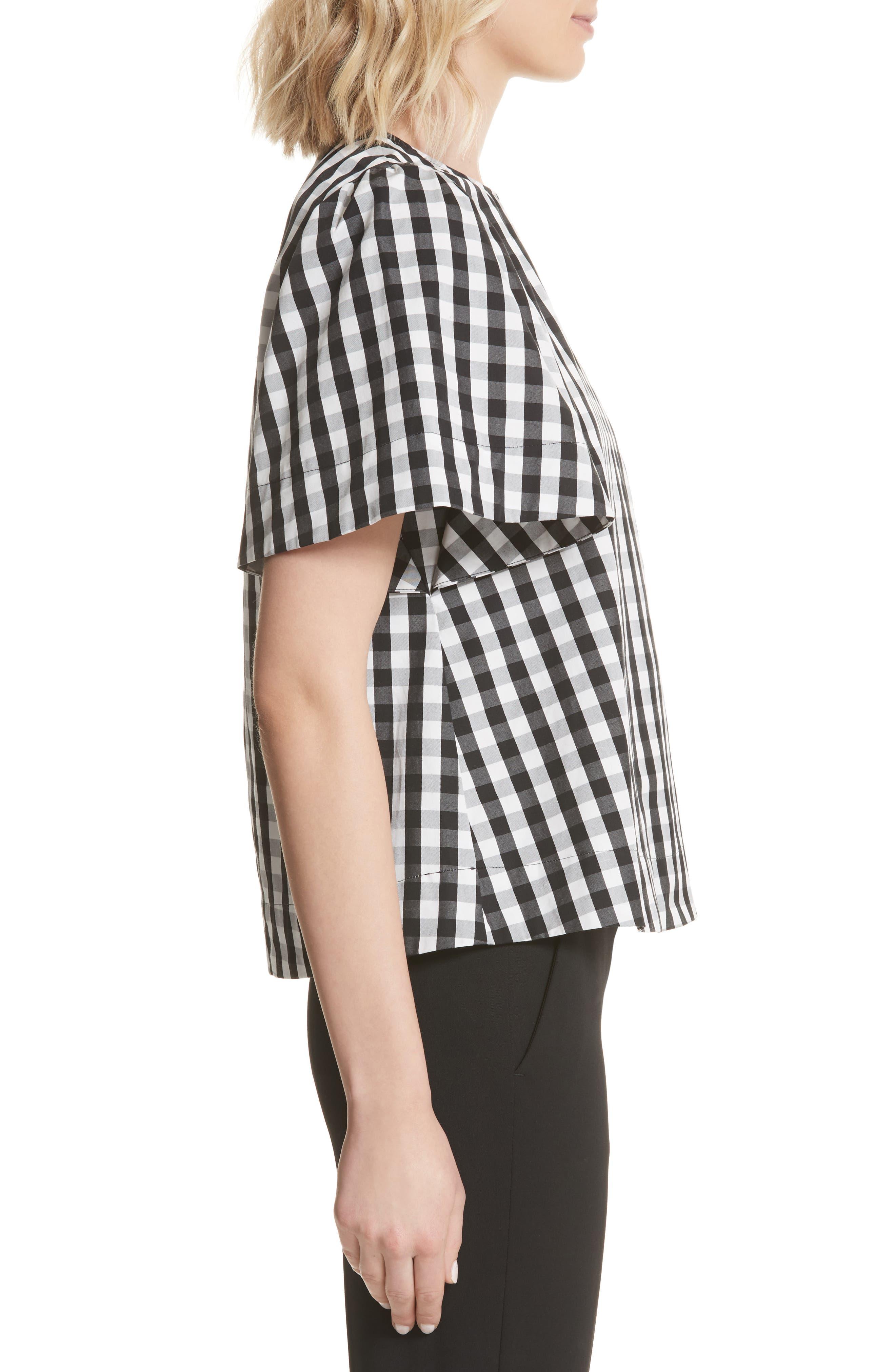 gingham flutter sleeve top,                             Alternate thumbnail 3, color,                             Black