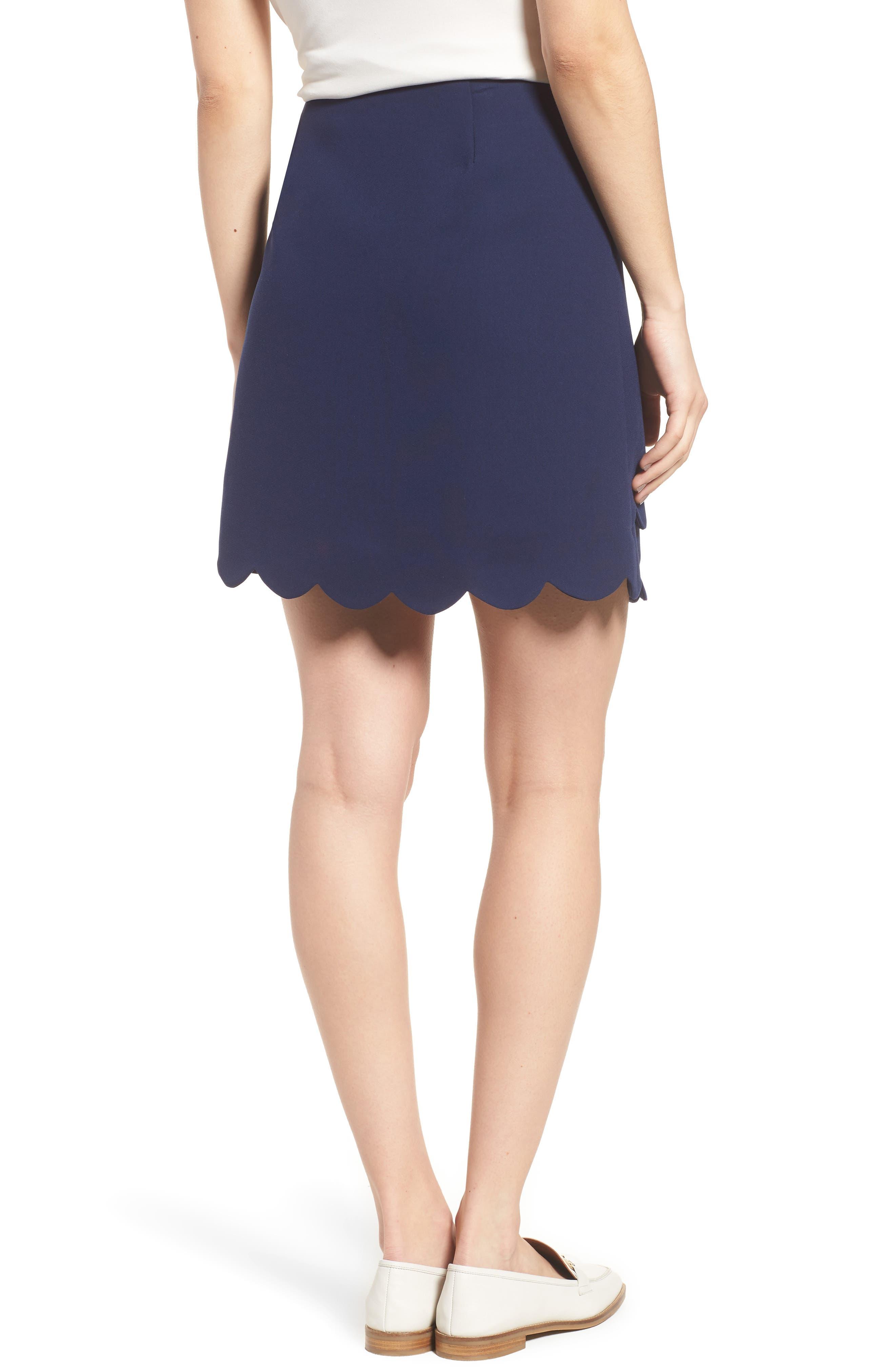 Scallop Skirt,                             Alternate thumbnail 2, color,                             Navy