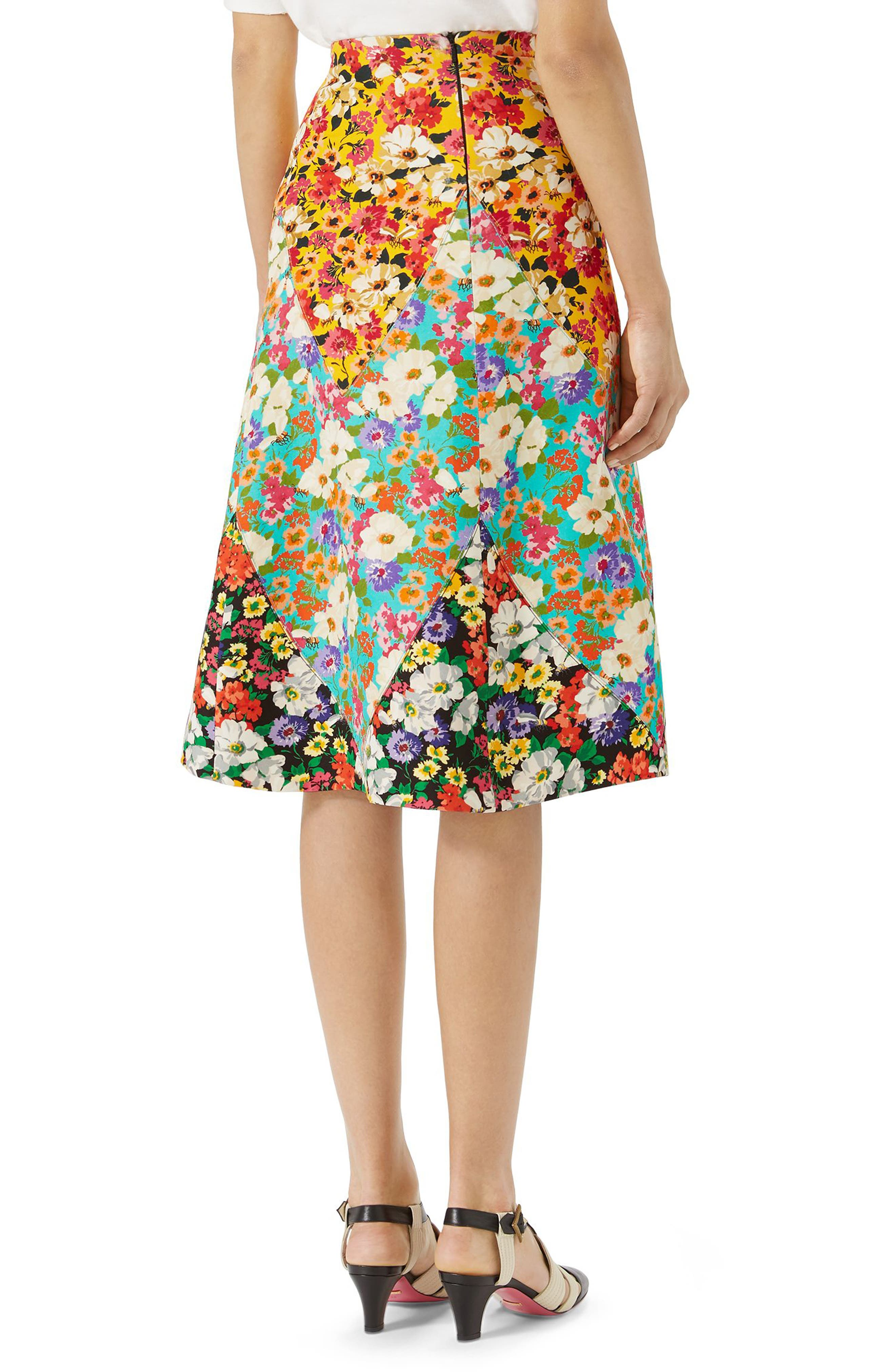 Floral Print Cady A-Line Skirt,                             Alternate thumbnail 2, color,                             Yellow-Multicolor