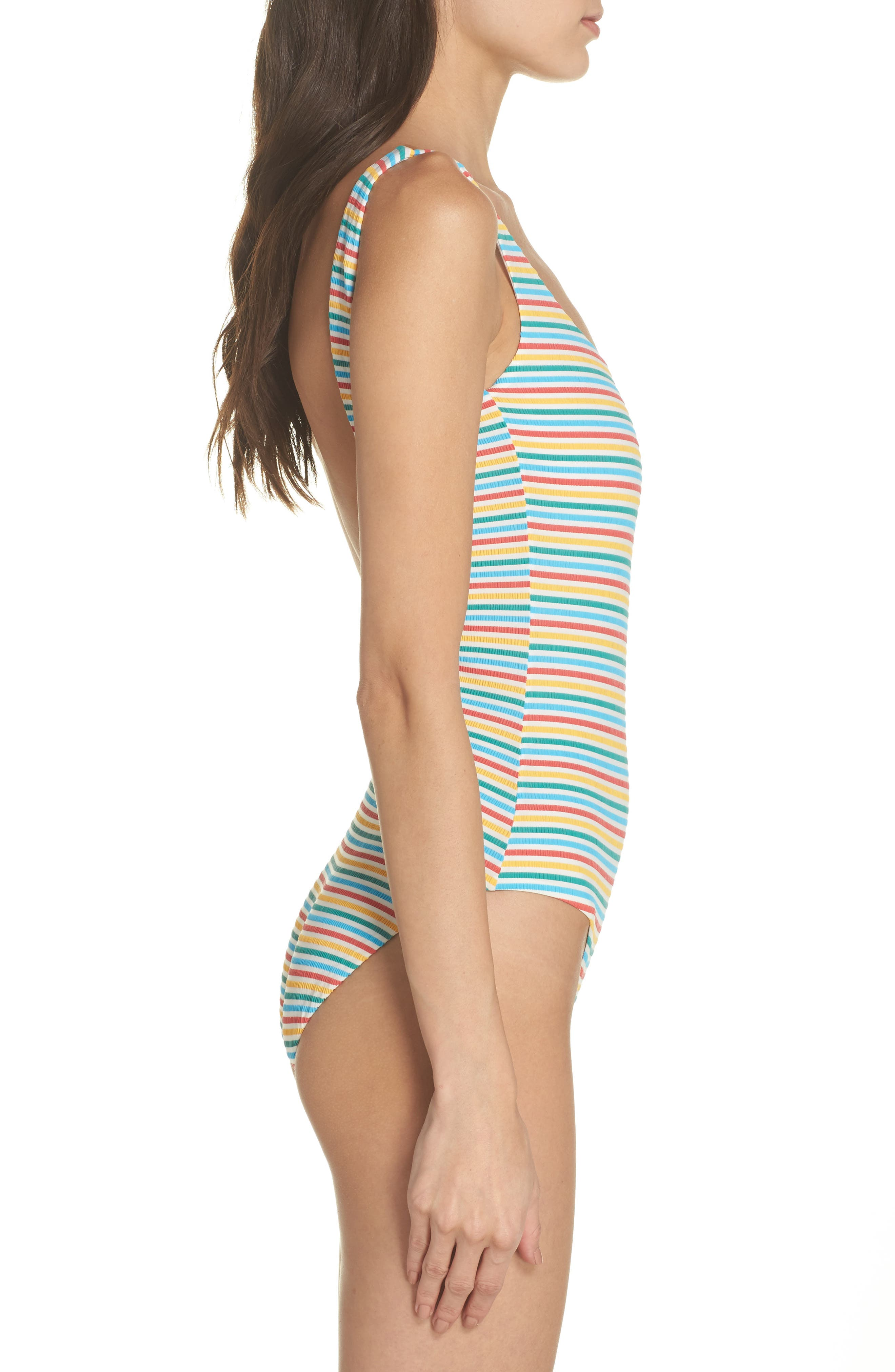 Stripe Low Back One-Piece Swimsuit,                             Alternate thumbnail 3, color,                             Yellow/ Blue/ Red