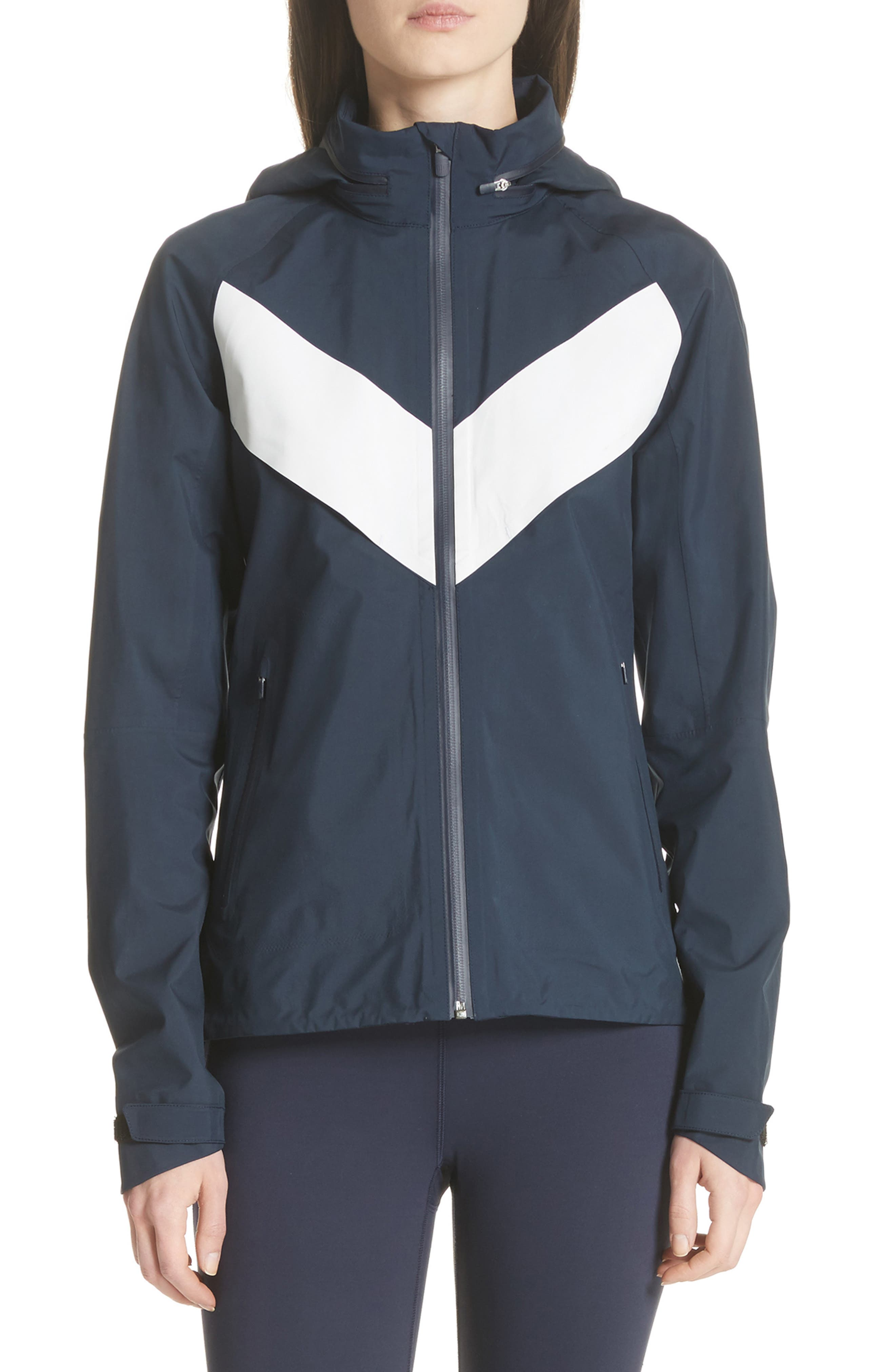 All Weather Run Jacket,                             Main thumbnail 1, color,                             Tory Navy/ White Snow