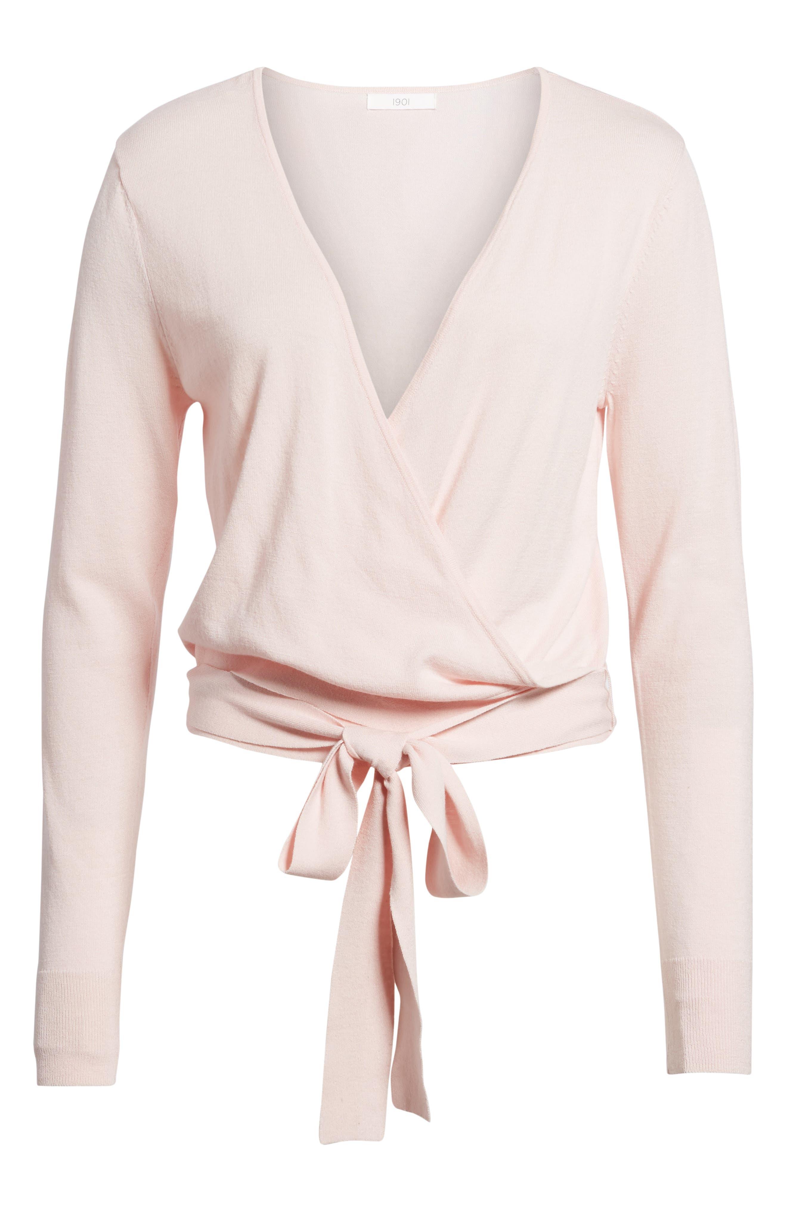 Wrap Sweater,                             Alternate thumbnail 7, color,                             Pink Potpourri