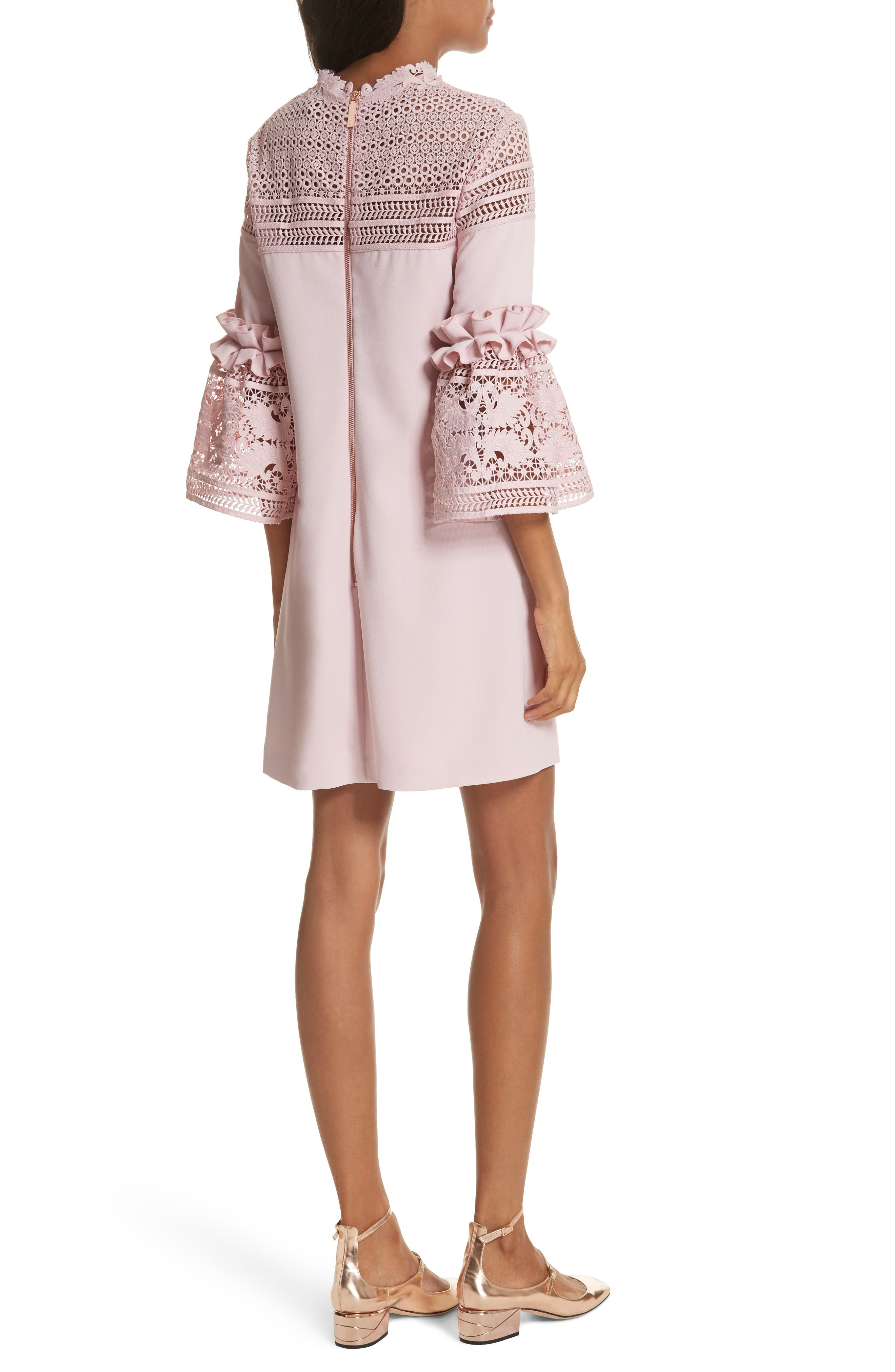Lace Panel Bell Sleeve Tunic Dress,                             Alternate thumbnail 2, color,                             Dusky Pink
