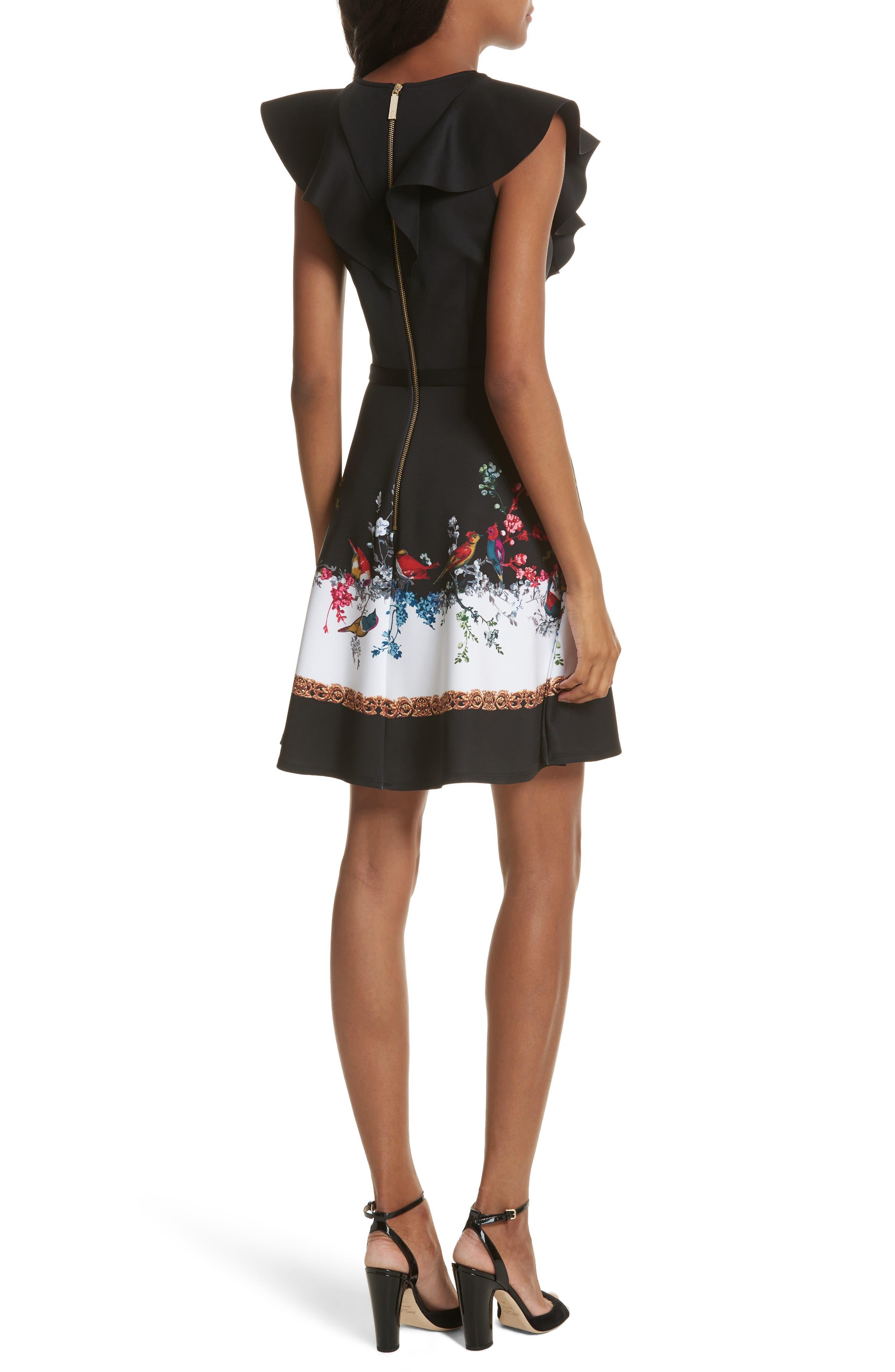Opulent Fauna Ruffled Skater Dress,                             Alternate thumbnail 2, color,                             Black