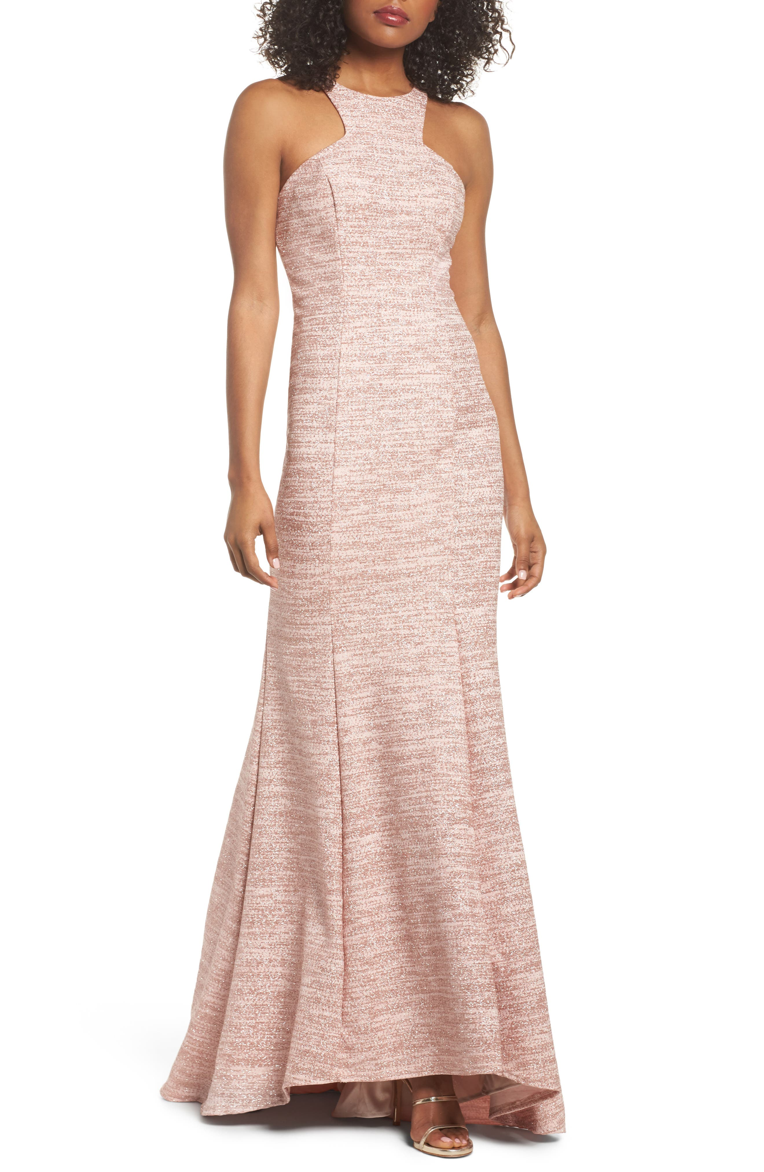 Glitter Trumpet Gown,                         Main,                         color, Blush