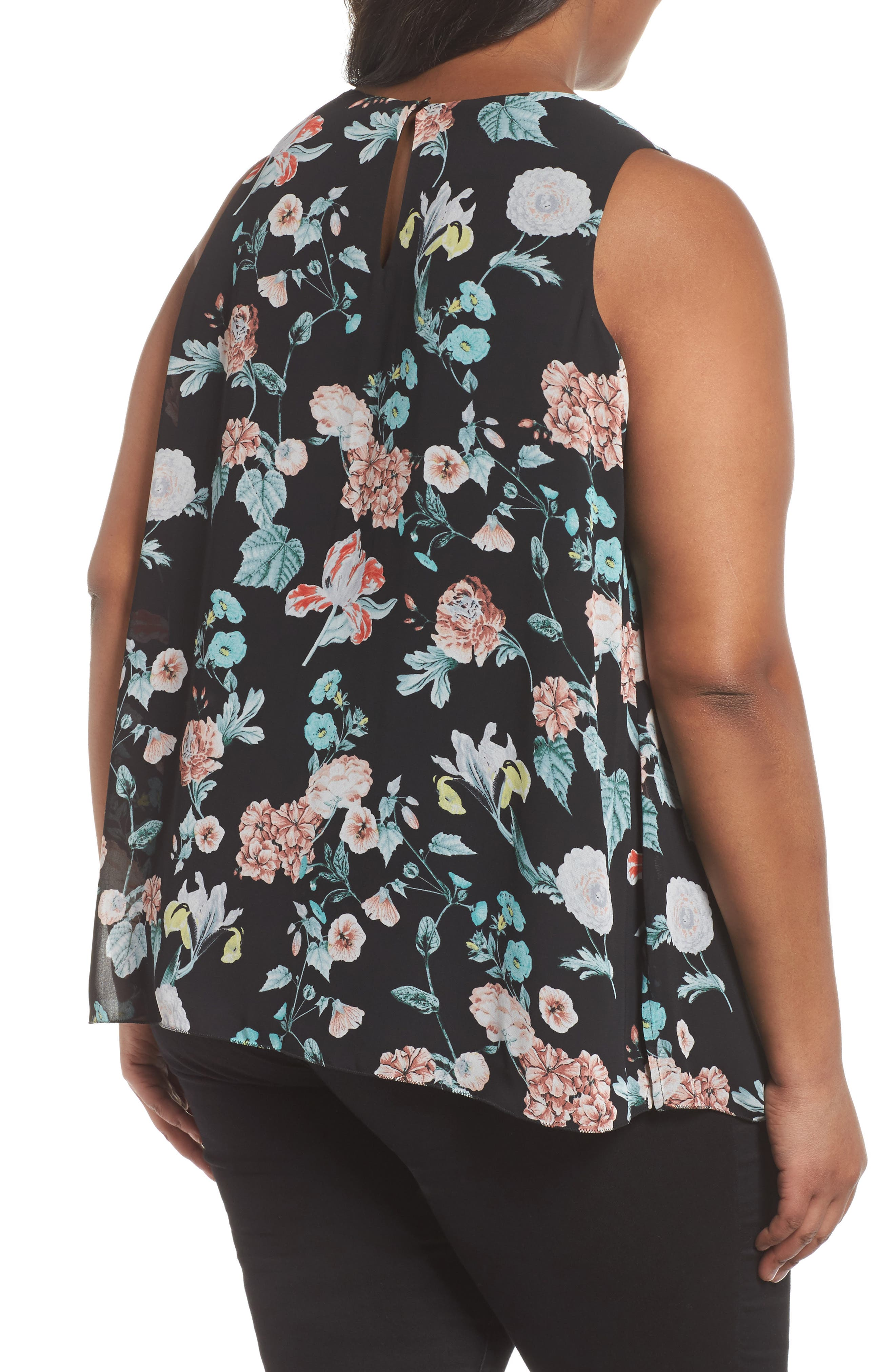 Sleeveless Floral Gardens Top,                             Alternate thumbnail 2, color,                             Rich Black