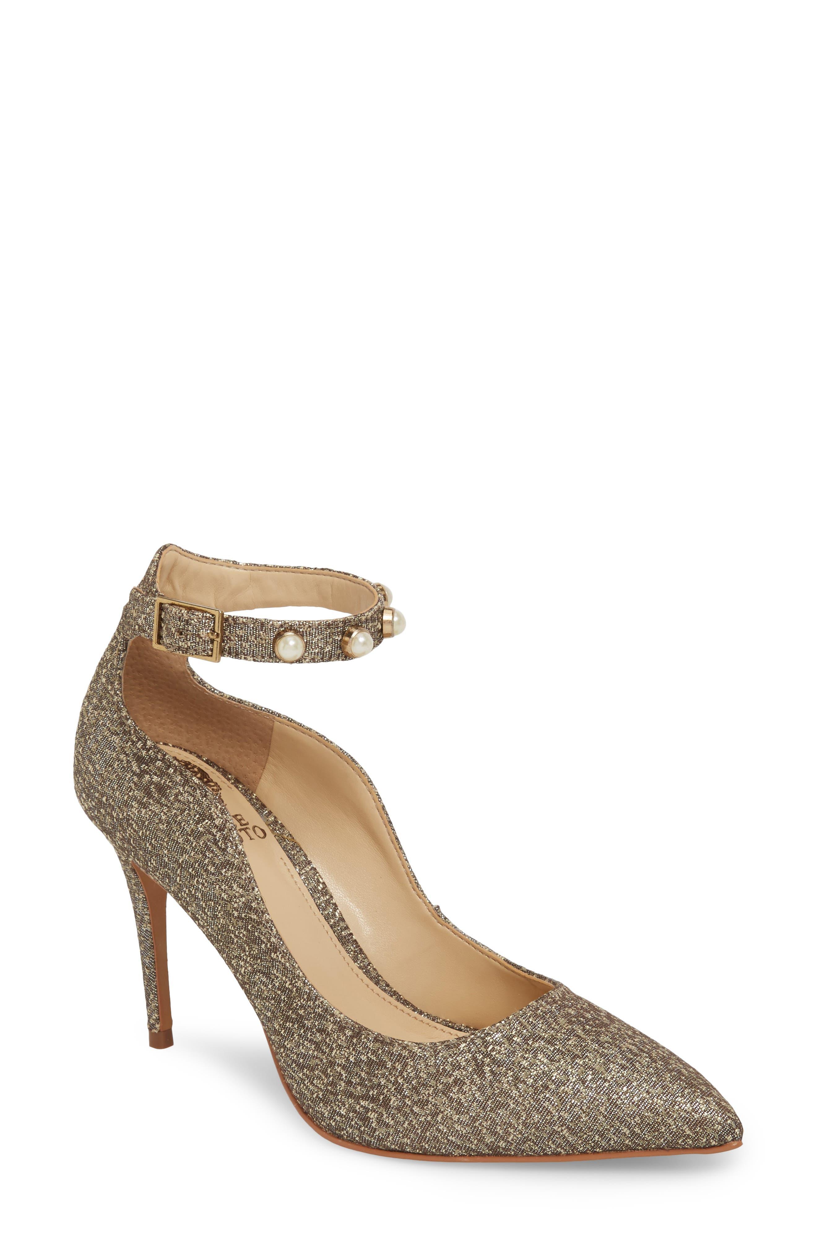 Vine Camuto Jassita Ankle Strap Pump,                         Main,                         color, Bronze