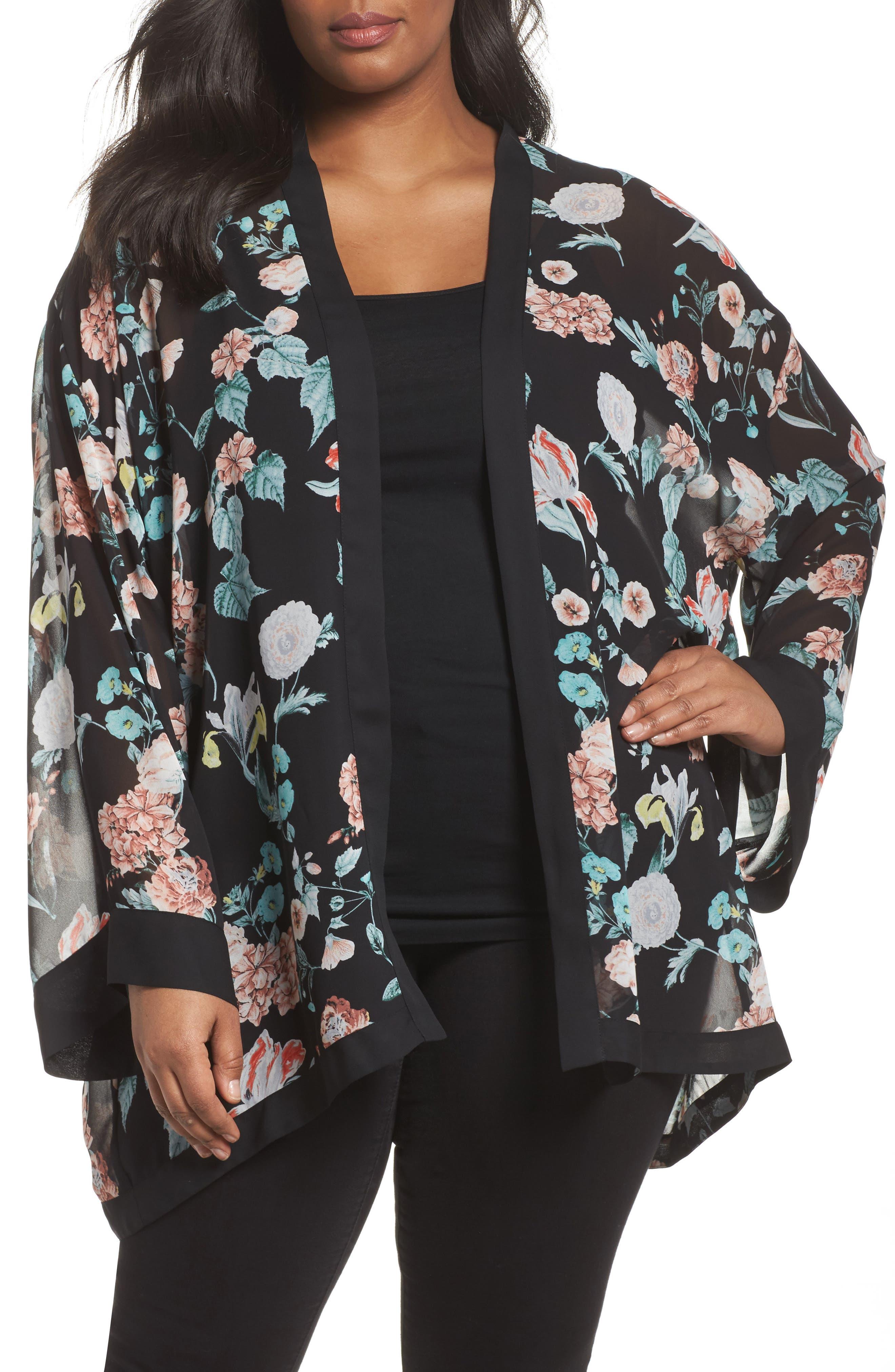 Floral Gardens Kimono Blouse,                             Main thumbnail 1, color,                             Rich Black