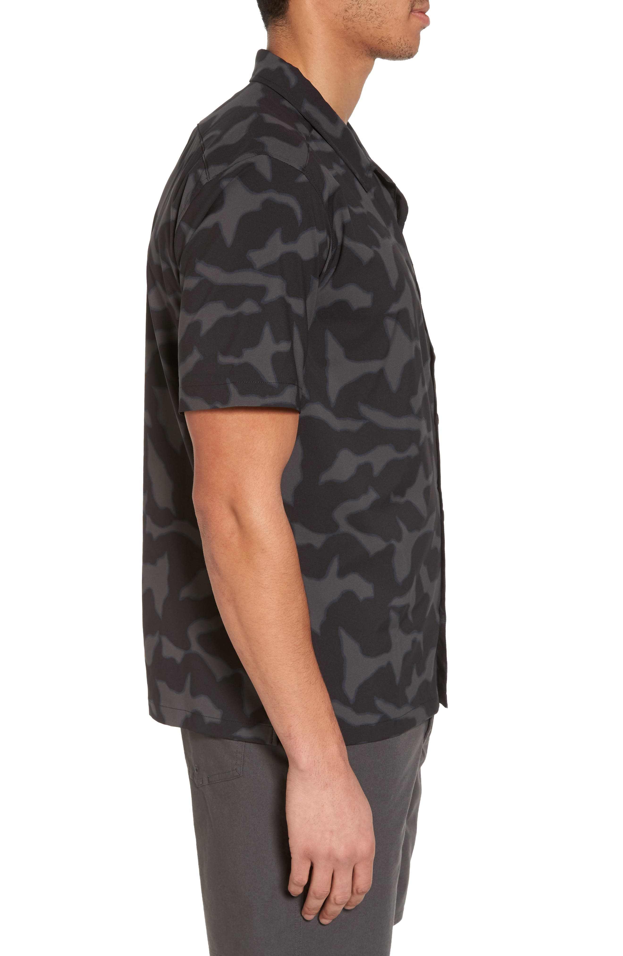Stretch Planing Hybrid Shirt,                             Alternate thumbnail 3, color,                             Black