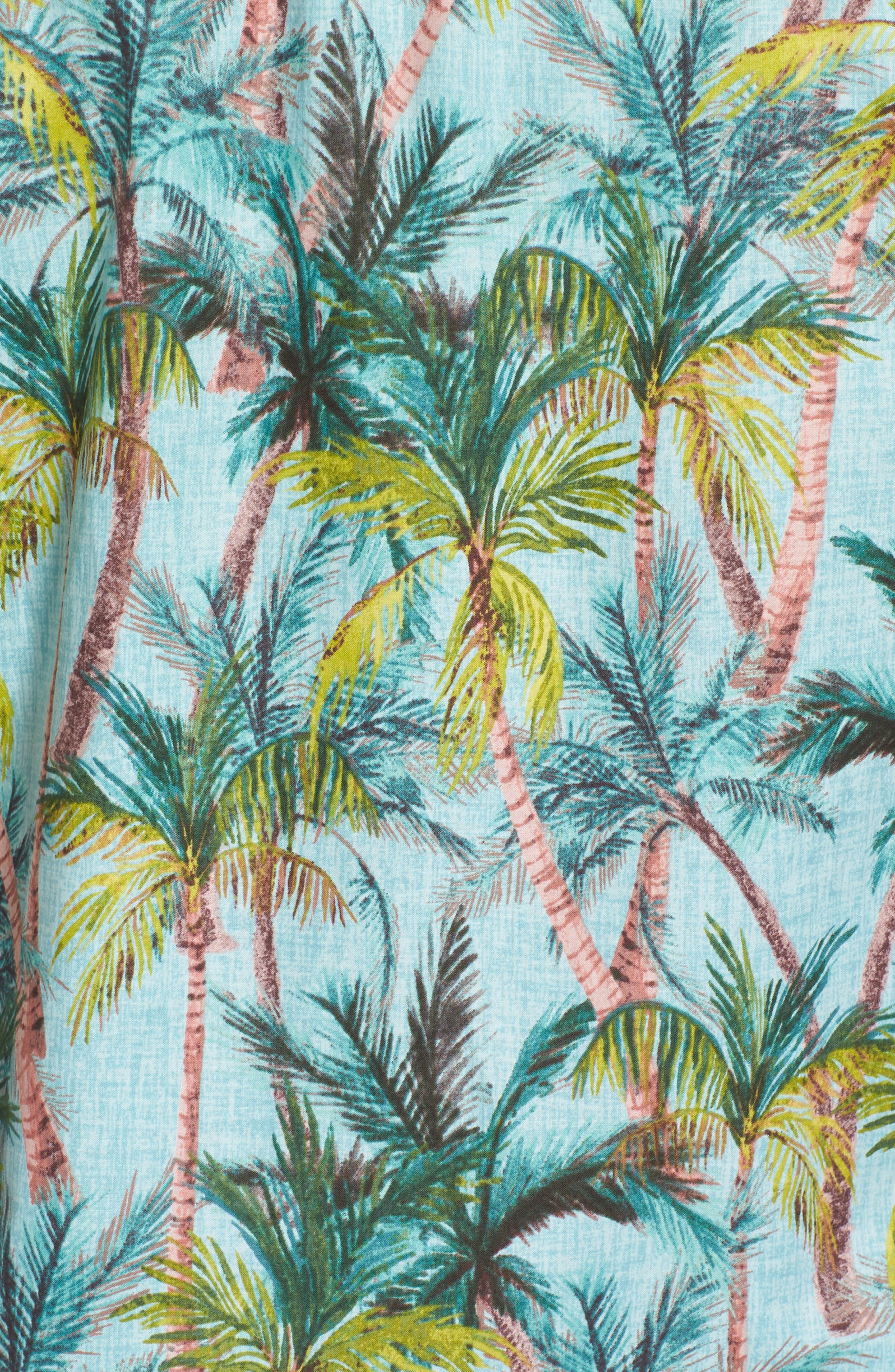 Coco Vida Trim Fit Print Cotton Lawn Sport Shirt,                             Alternate thumbnail 5, color,                             Surf