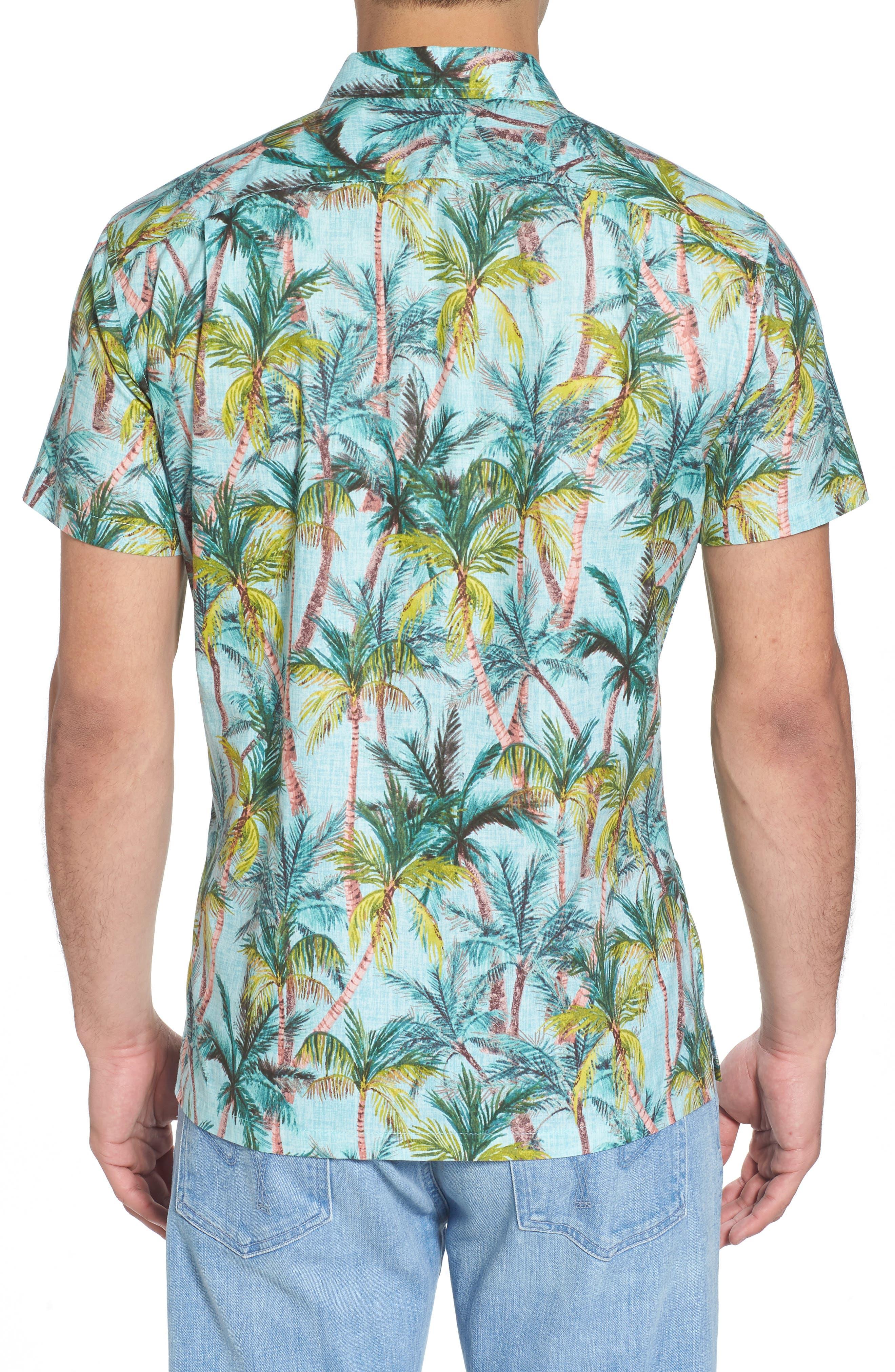 Coco Vida Trim Fit Print Cotton Lawn Sport Shirt,                             Alternate thumbnail 2, color,                             Surf