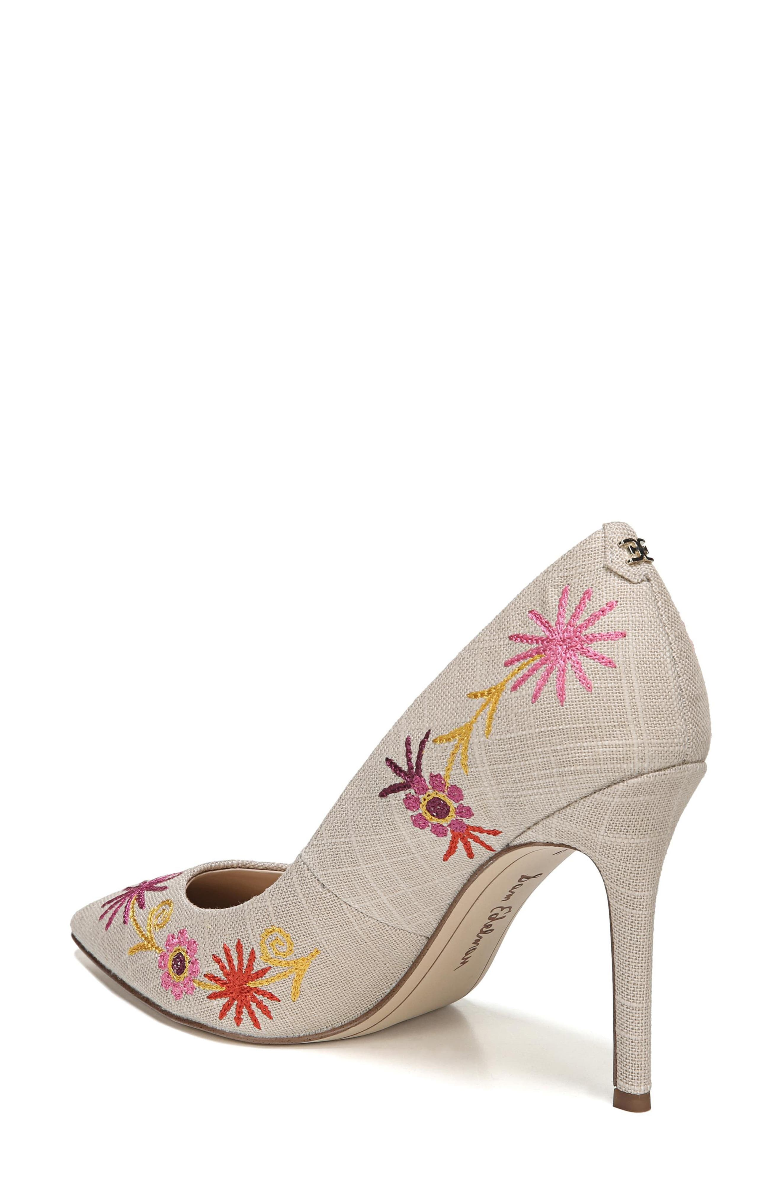 Hazel Pointy Toe Pump,                             Alternate thumbnail 2, color,                             Yellow Embroidery Suede