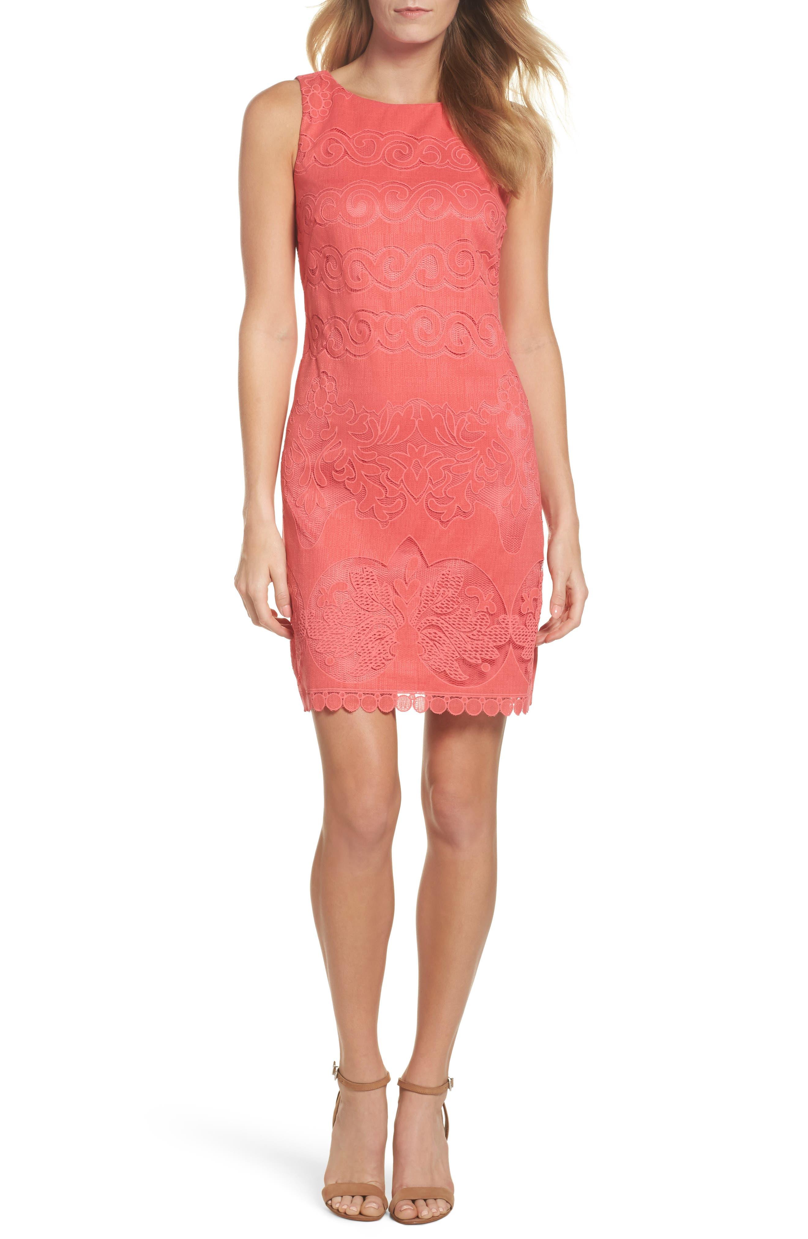 Sleeveless Scallop Hem Sheath Dress,                             Main thumbnail 1, color,                             Coral