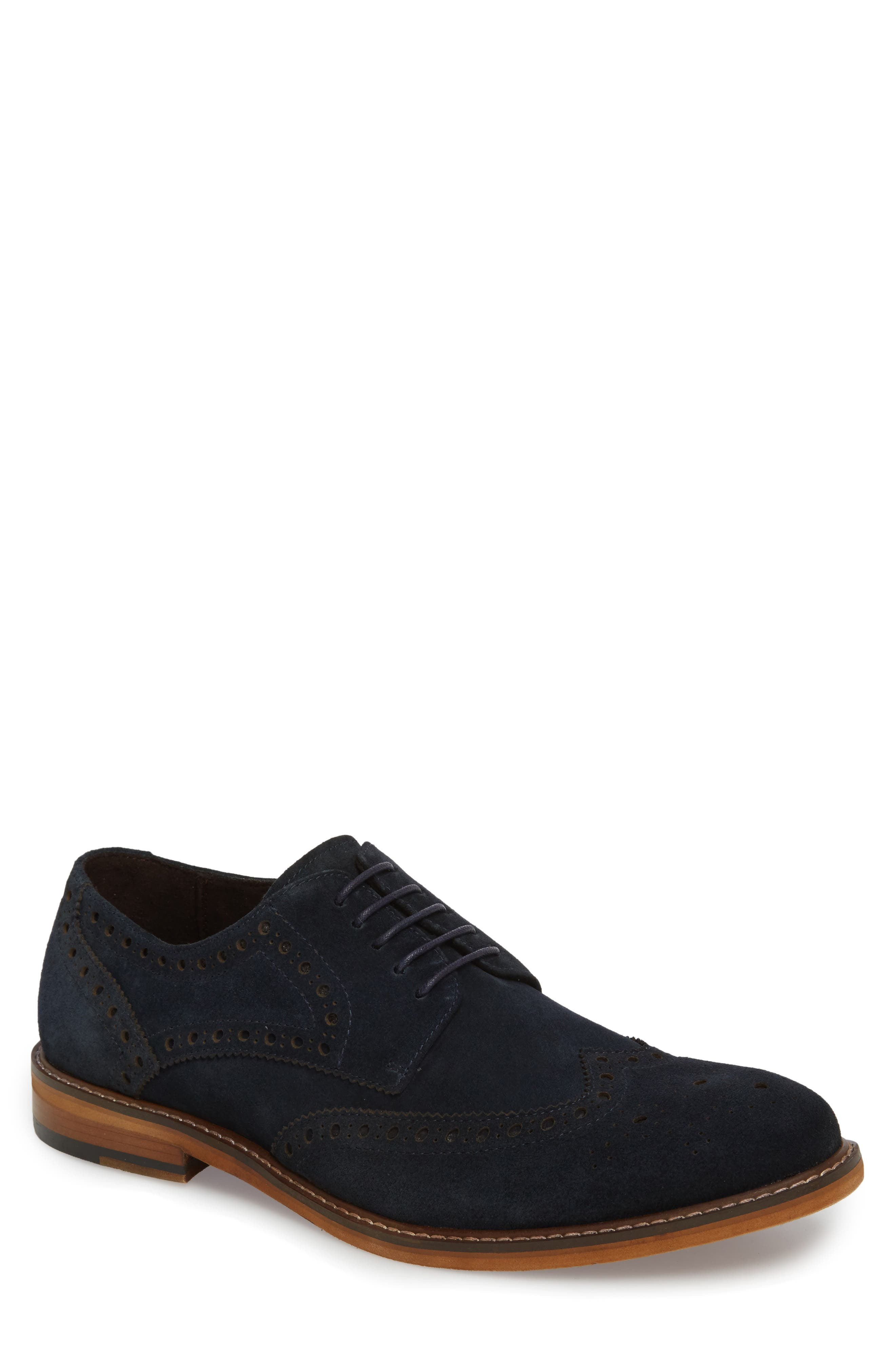 Dance Wingtip,                             Main thumbnail 1, color,                             Navy Suede