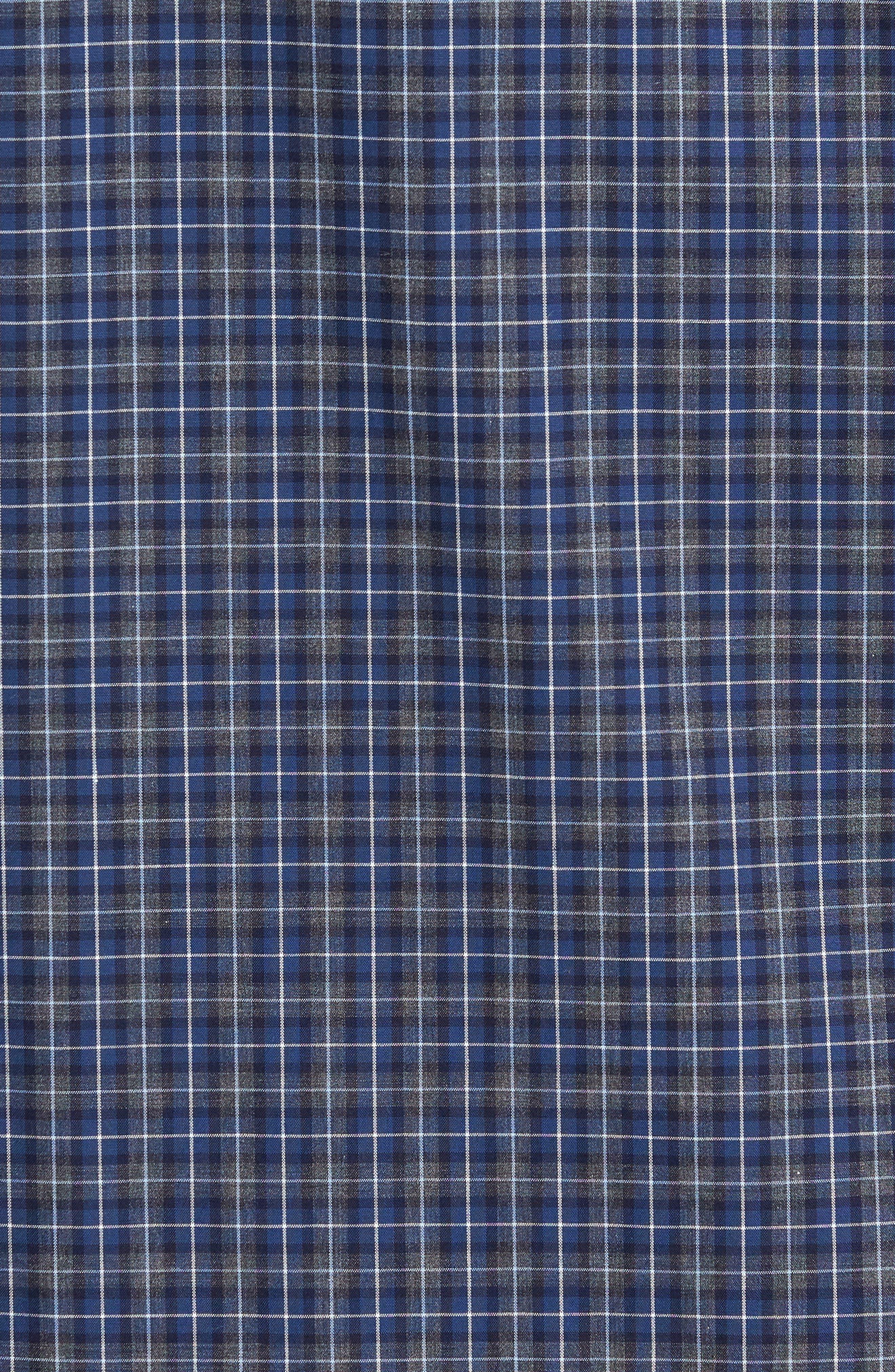 Trim Fit Check Sport Shirt,                             Alternate thumbnail 5, color,                             Navy Peacoat Grey Check