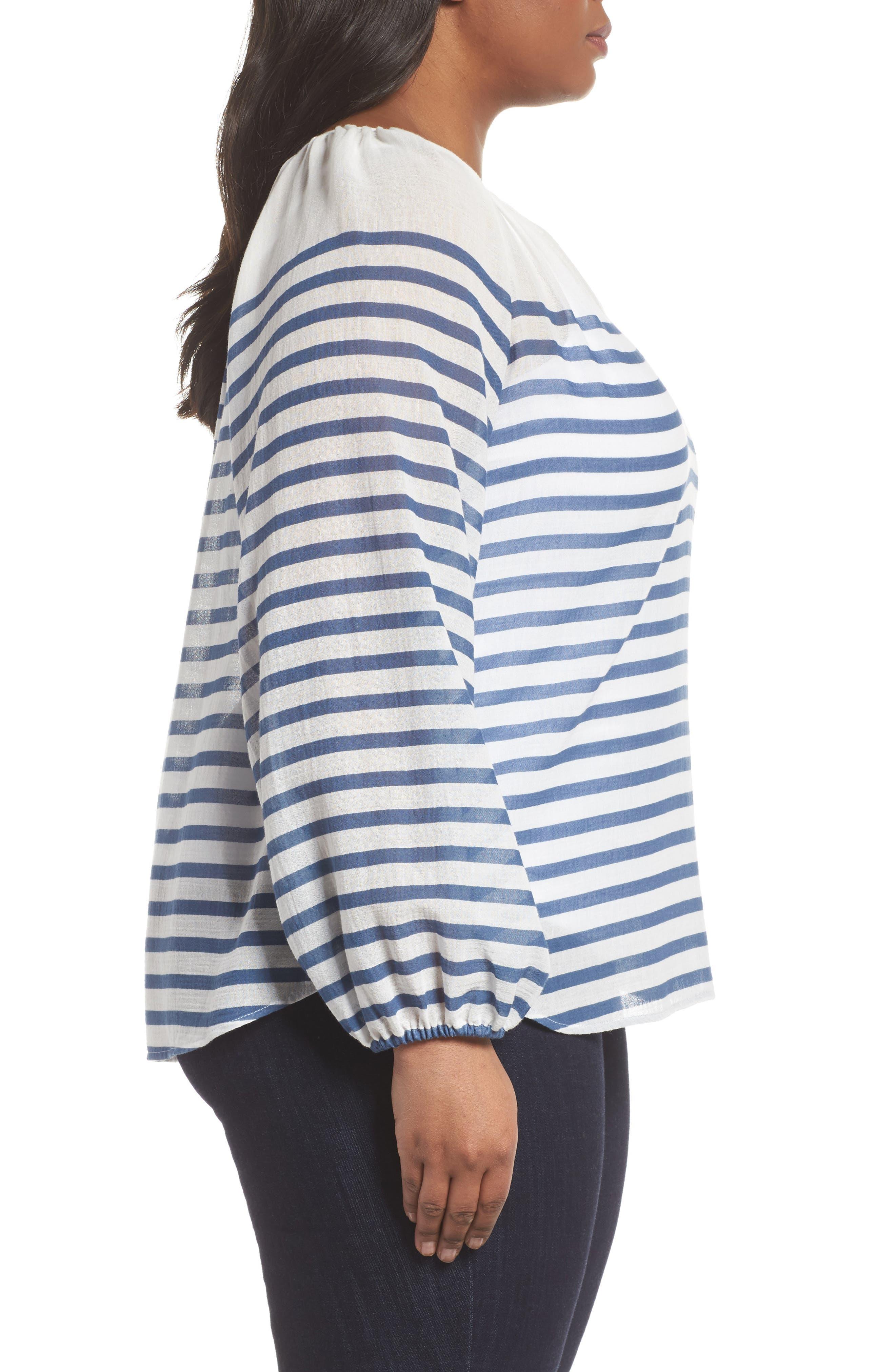 Stripe Peasant Blouse,                             Alternate thumbnail 3, color,                             Patina Blue