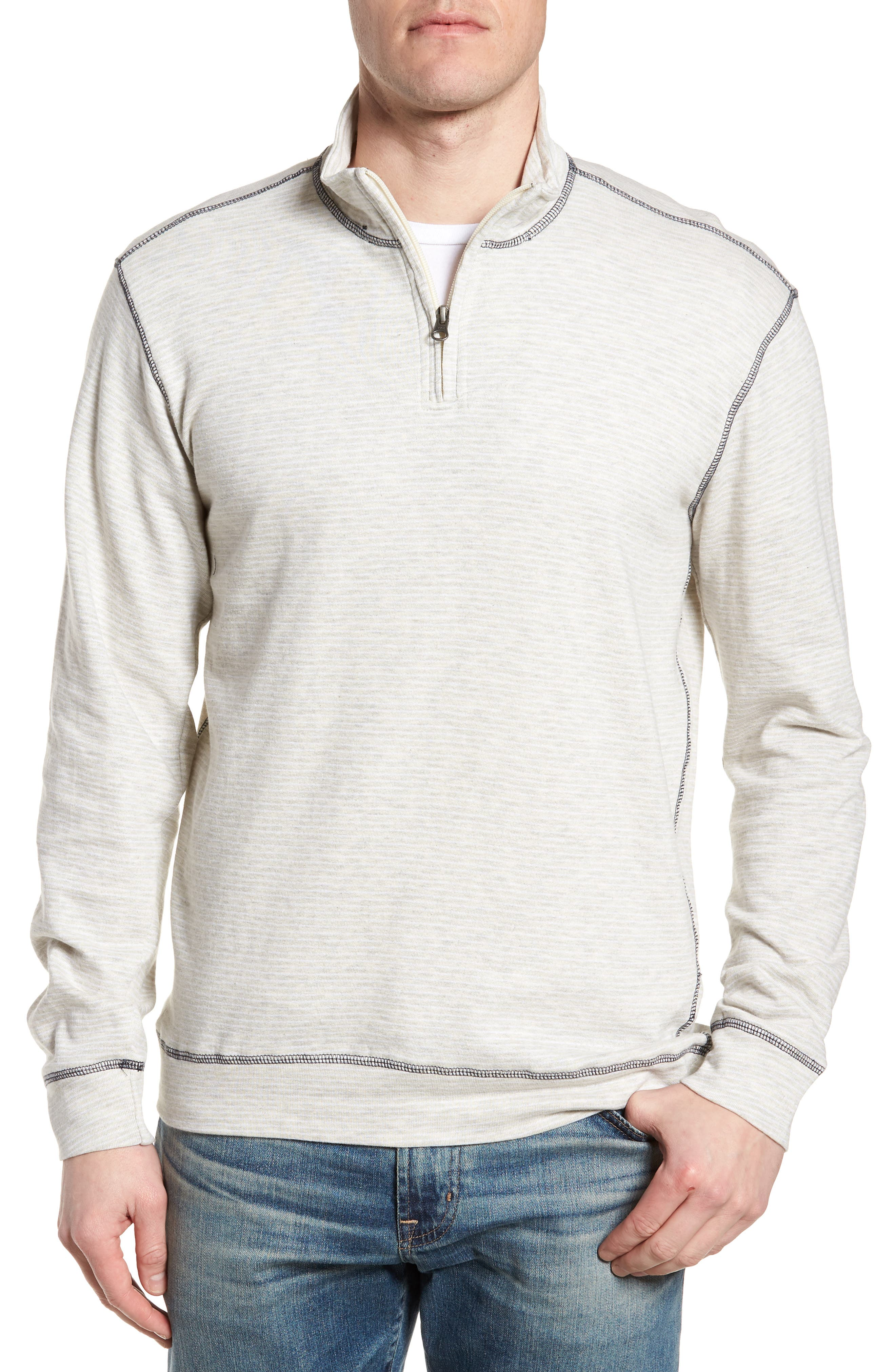 Space Dye Stripe French Terry Pullover,                             Main thumbnail 1, color,                             Oatmeal