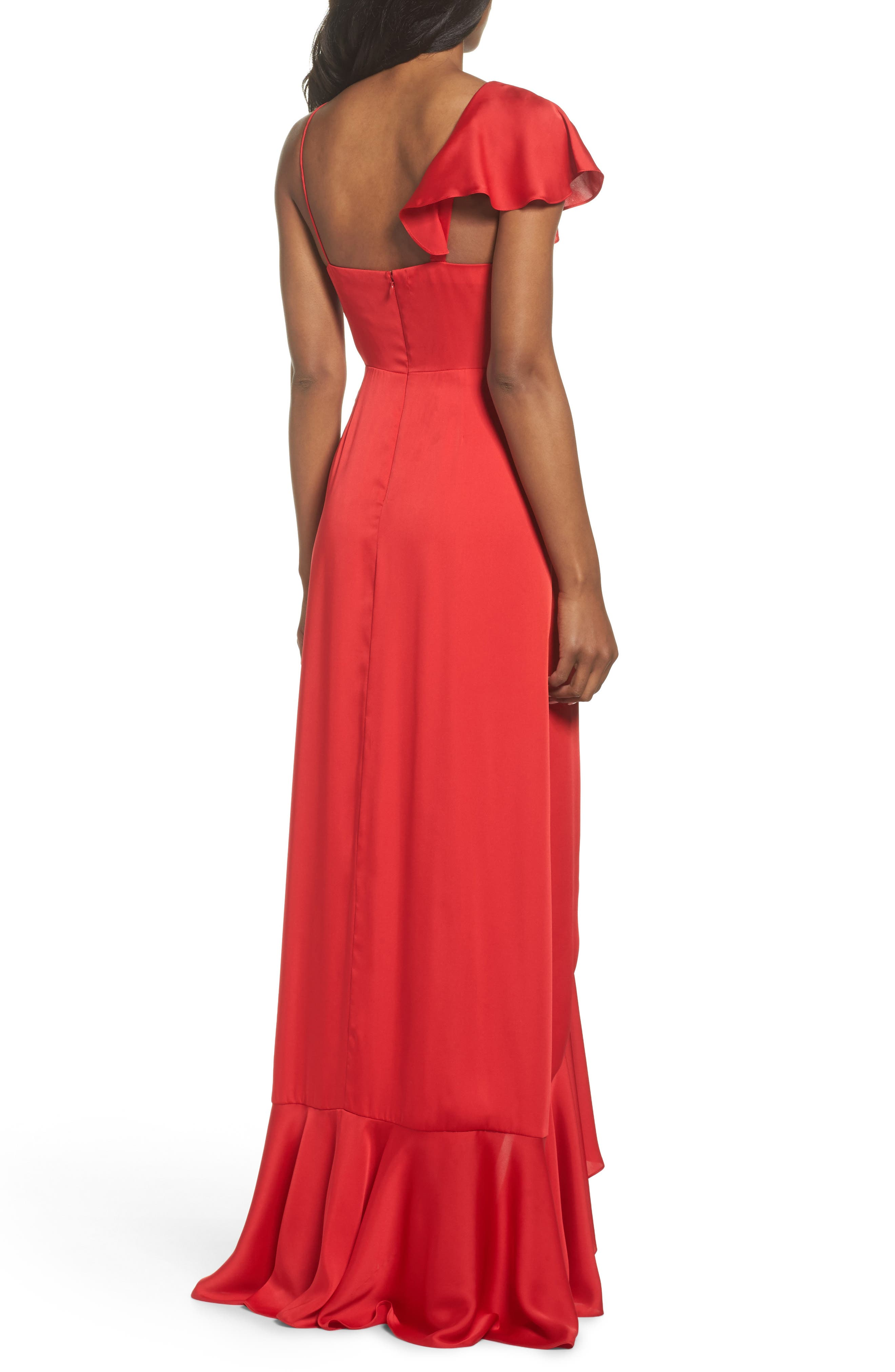 Ruffle Detail Gown,                             Alternate thumbnail 2, color,                             Poppy Red