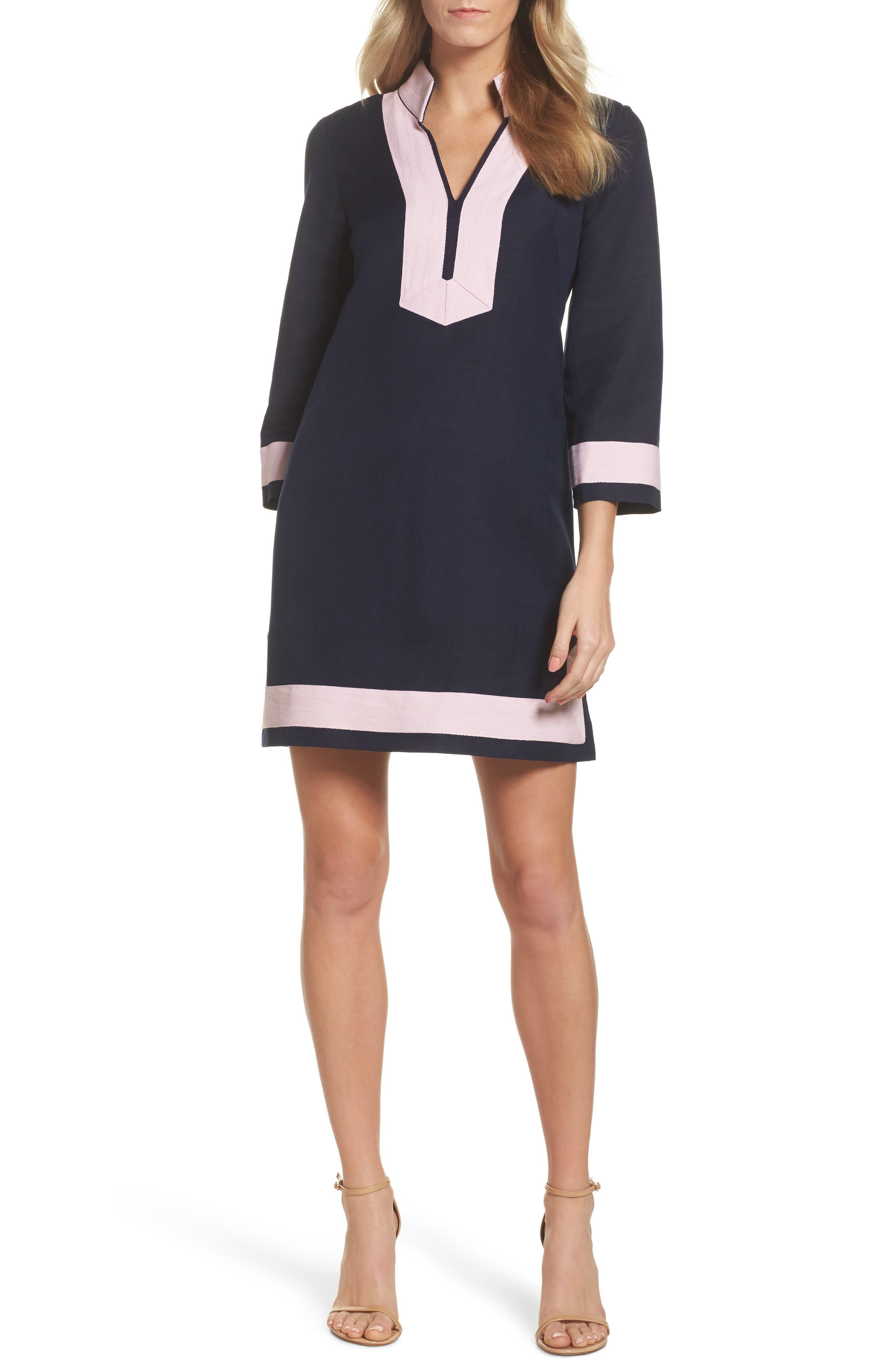 Mandarin Collar Shift Dress,                             Main thumbnail 1, color,                             Navy/ Pansy