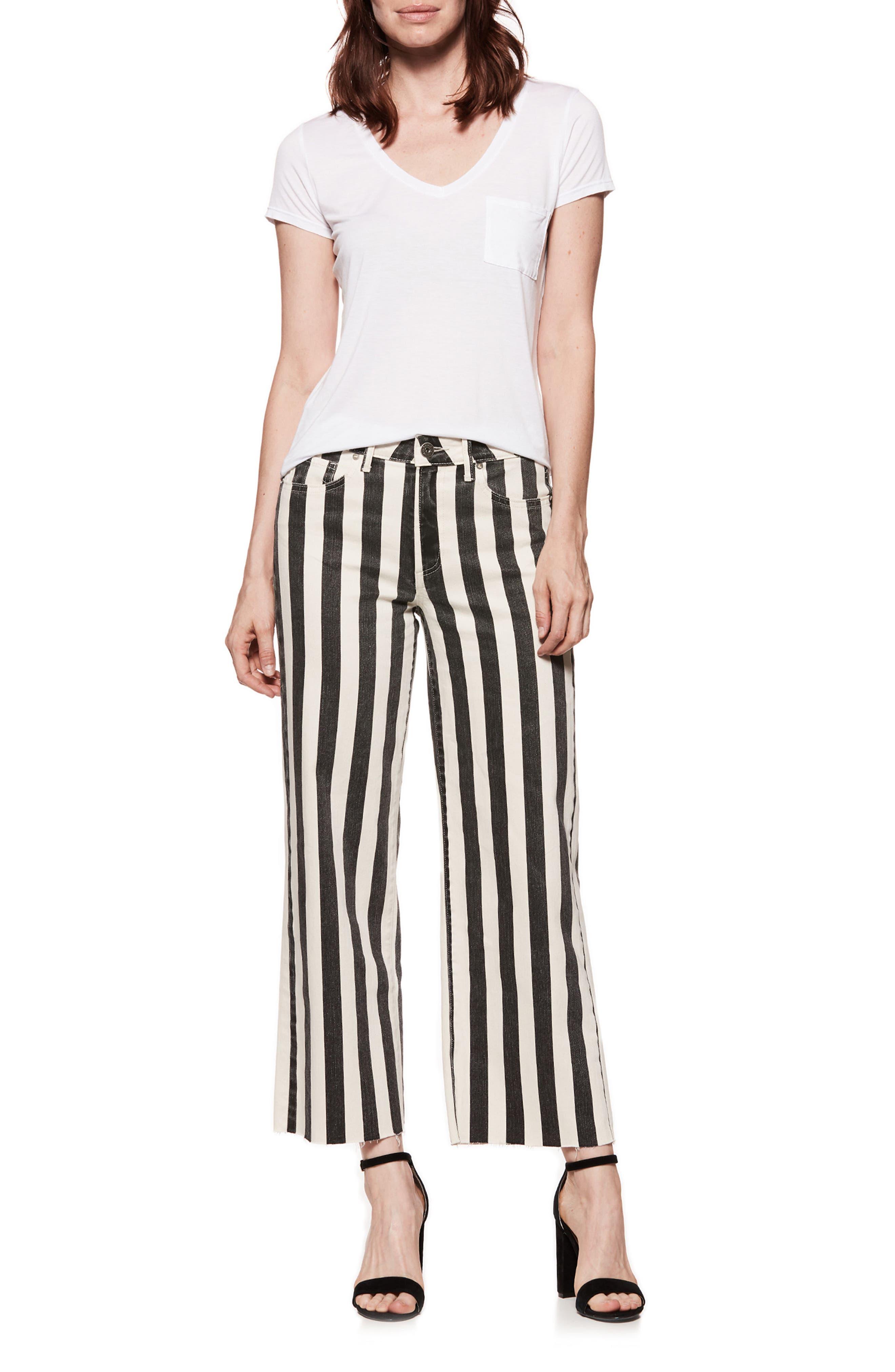 Nellie High Waist Culotte Jeans,                             Alternate thumbnail 2, color,                             Black/ Ecru Stripe