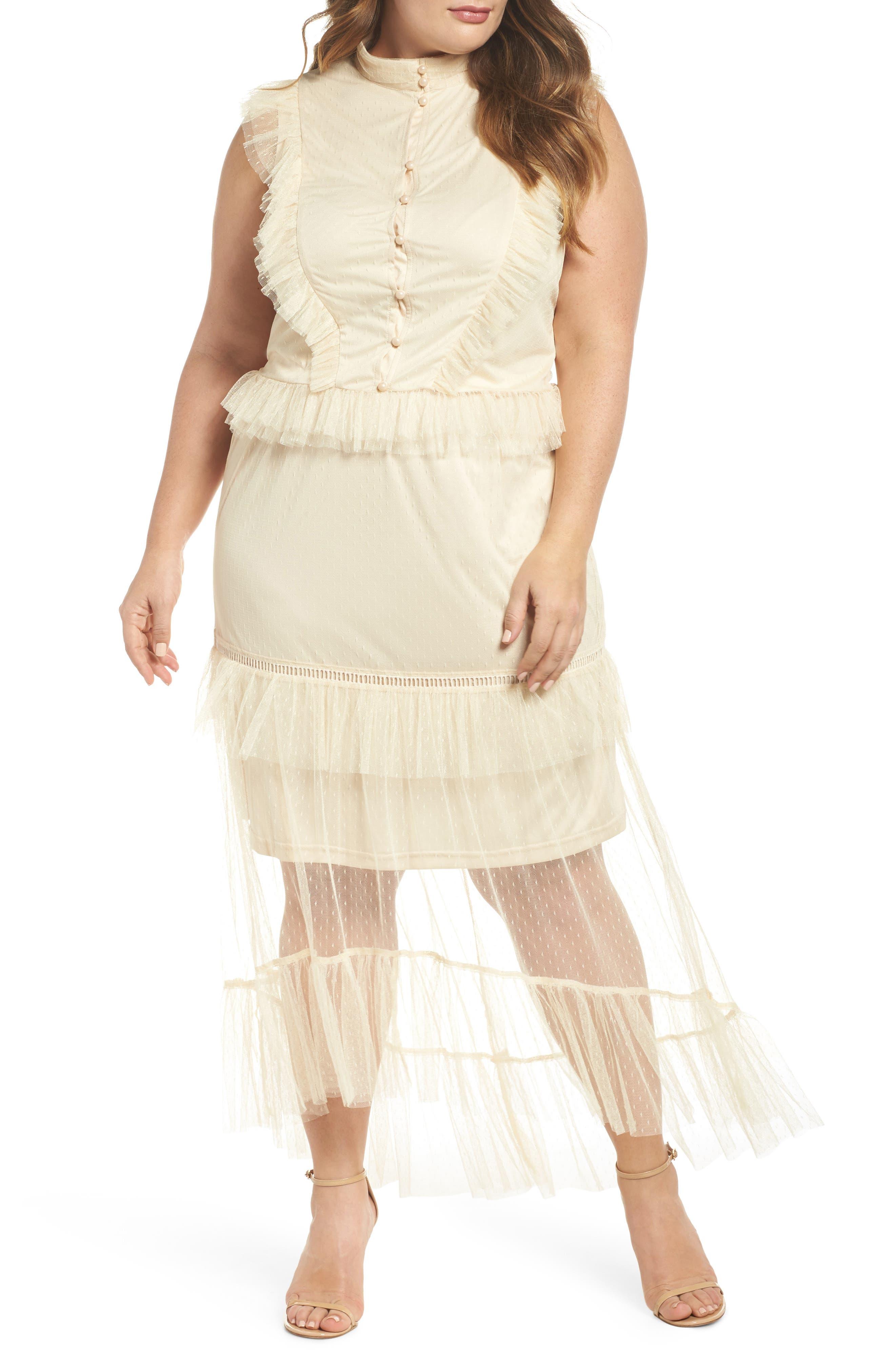 Ruffle Sheer Hem Maxi Dress,                         Main,                         color, Cream