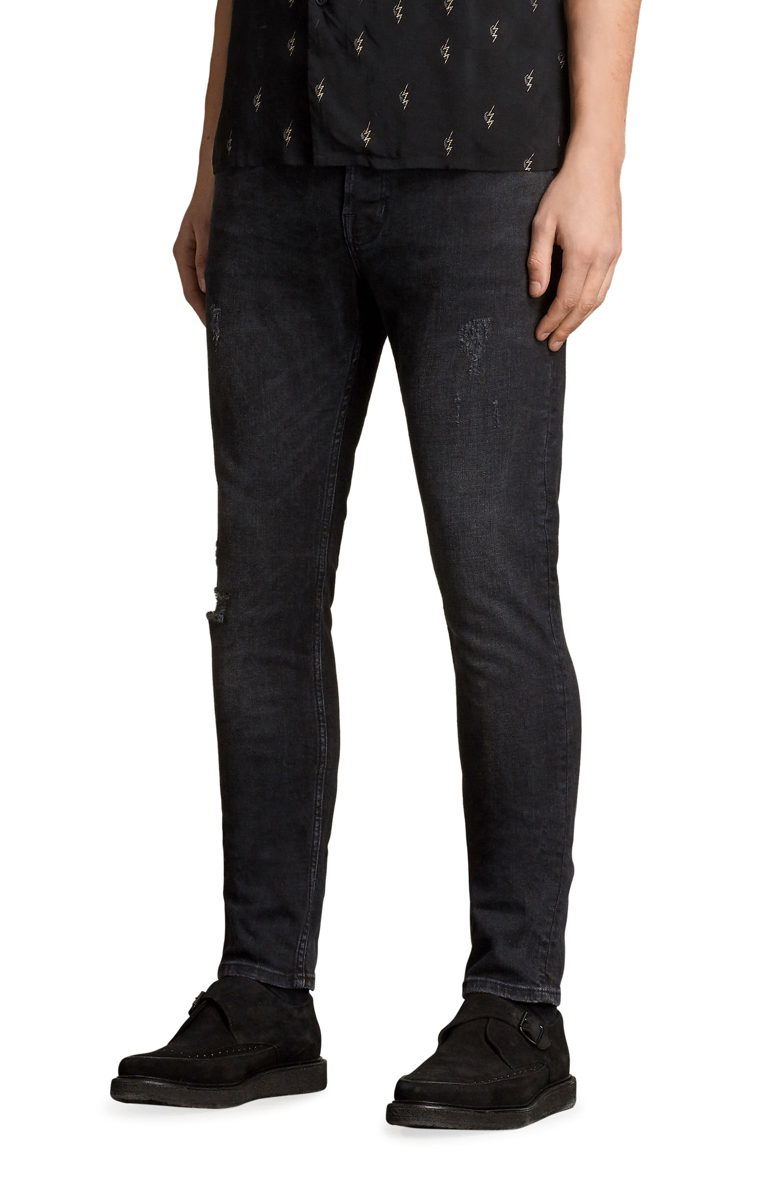Raveline Skinny Fit Jeans,                             Alternate thumbnail 3, color,                             Black