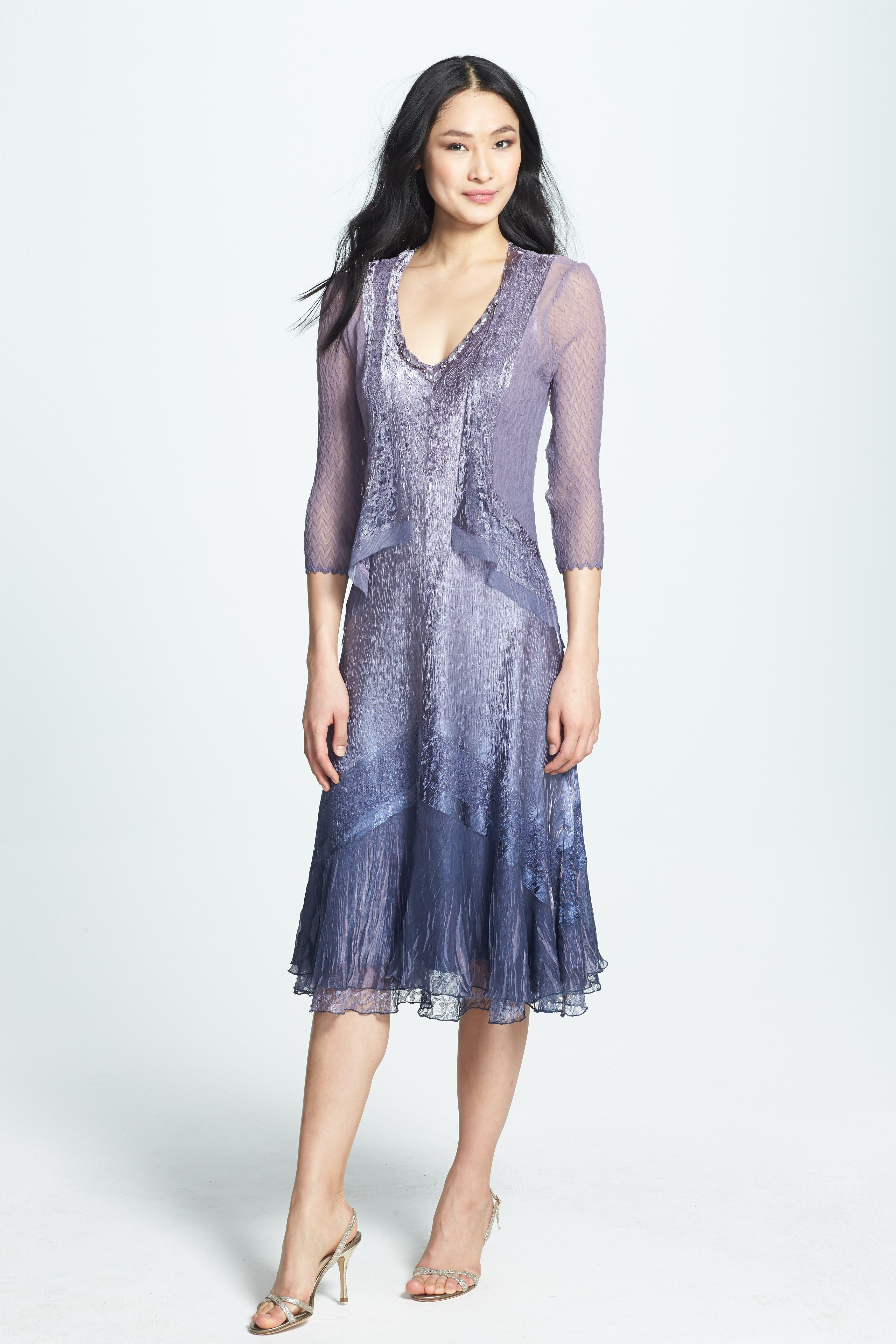 Beaded Neck Charmeuse Dress & Jacket,                         Main,                         color, Purple Ash Ombre