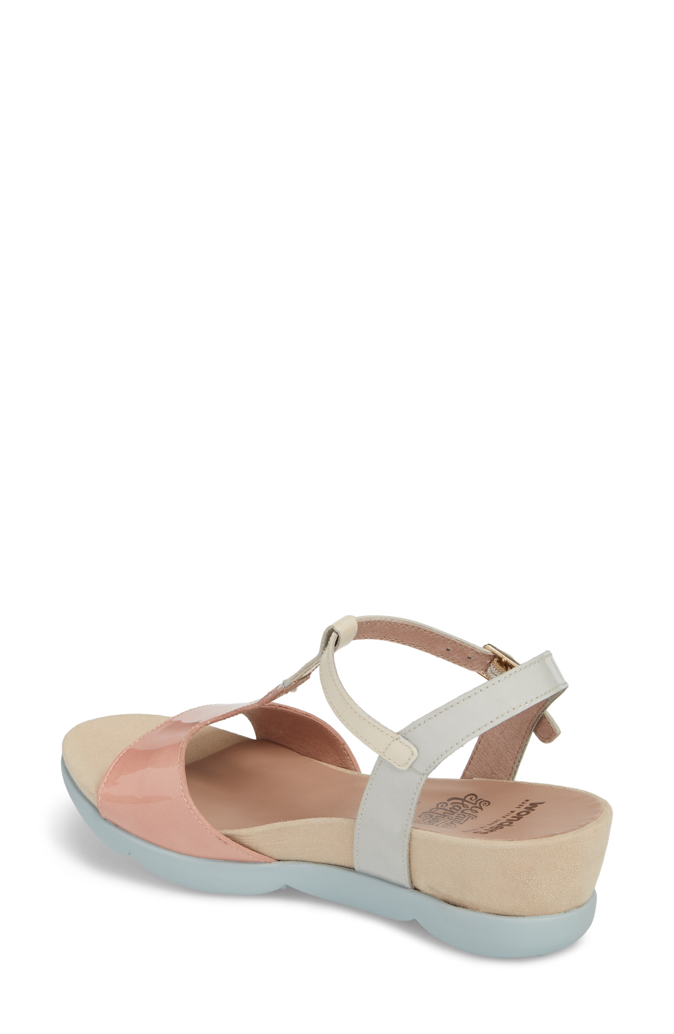Wedge Sandal,                             Alternate thumbnail 2, color,                             Nude/ Off/ Light Grey Leather
