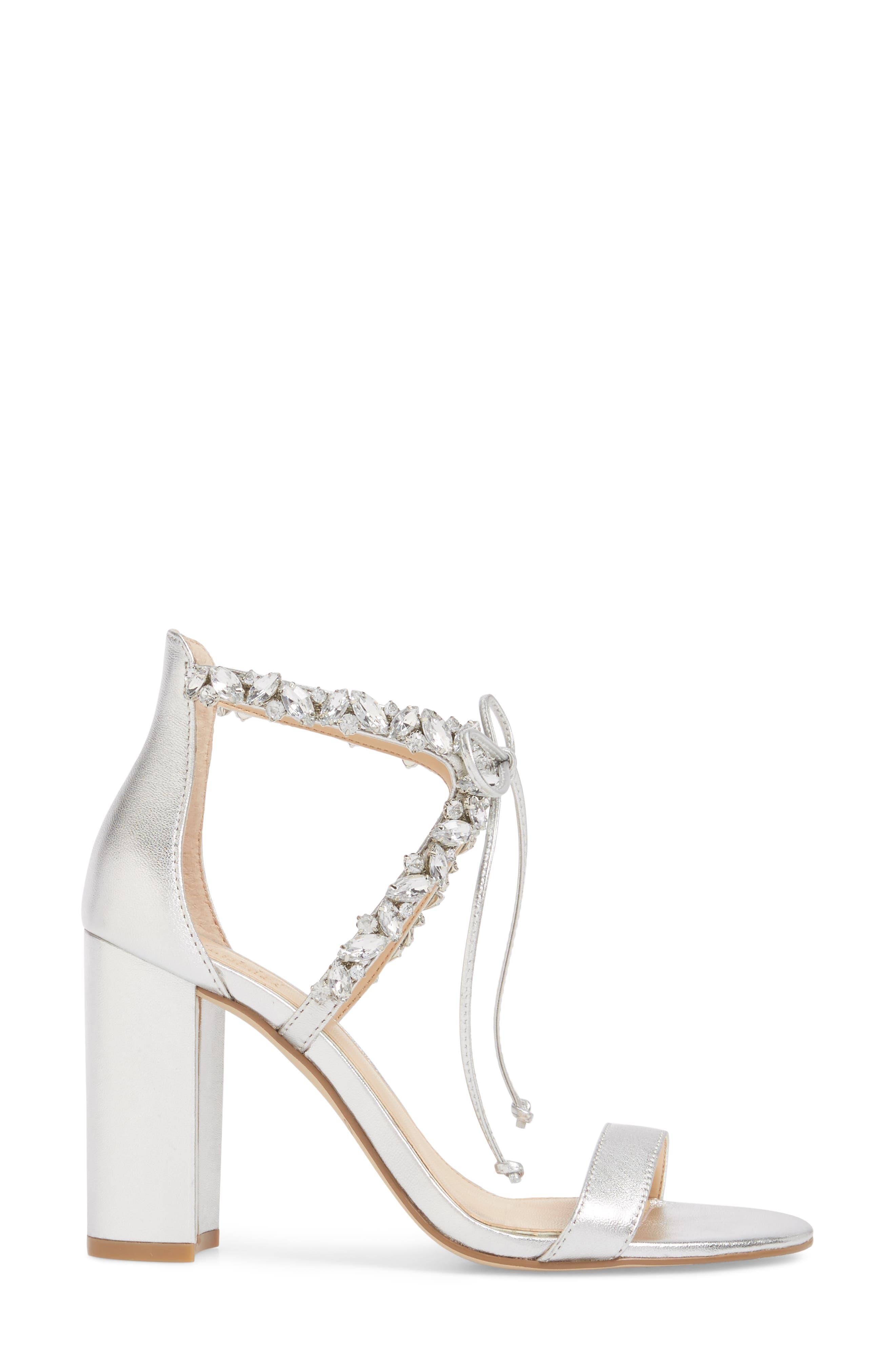 Thamar Embellished Sandal,                             Alternate thumbnail 3, color,                             Silver Leather