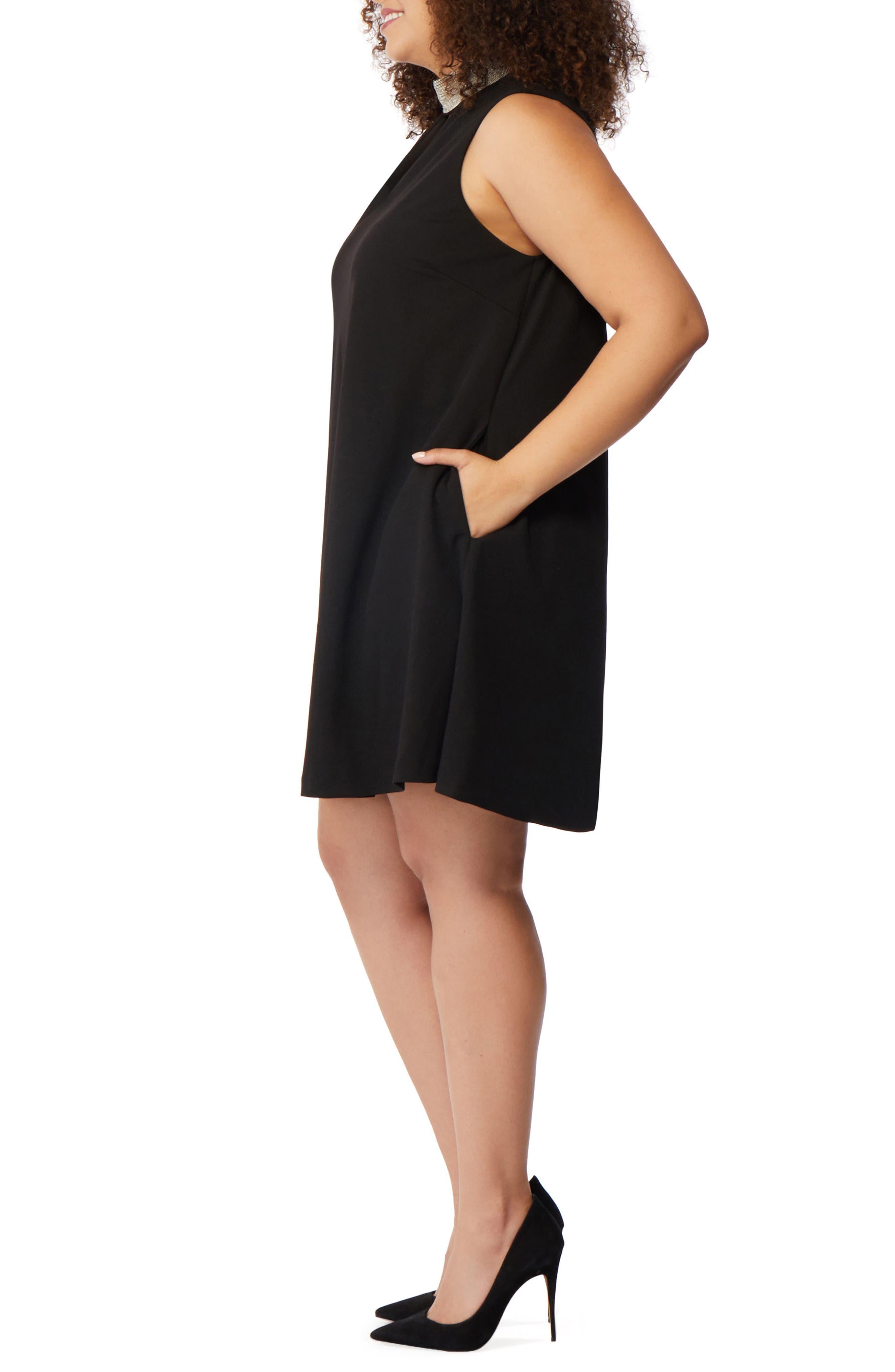 Beaded Choker Dress,                             Alternate thumbnail 3, color,                             Black