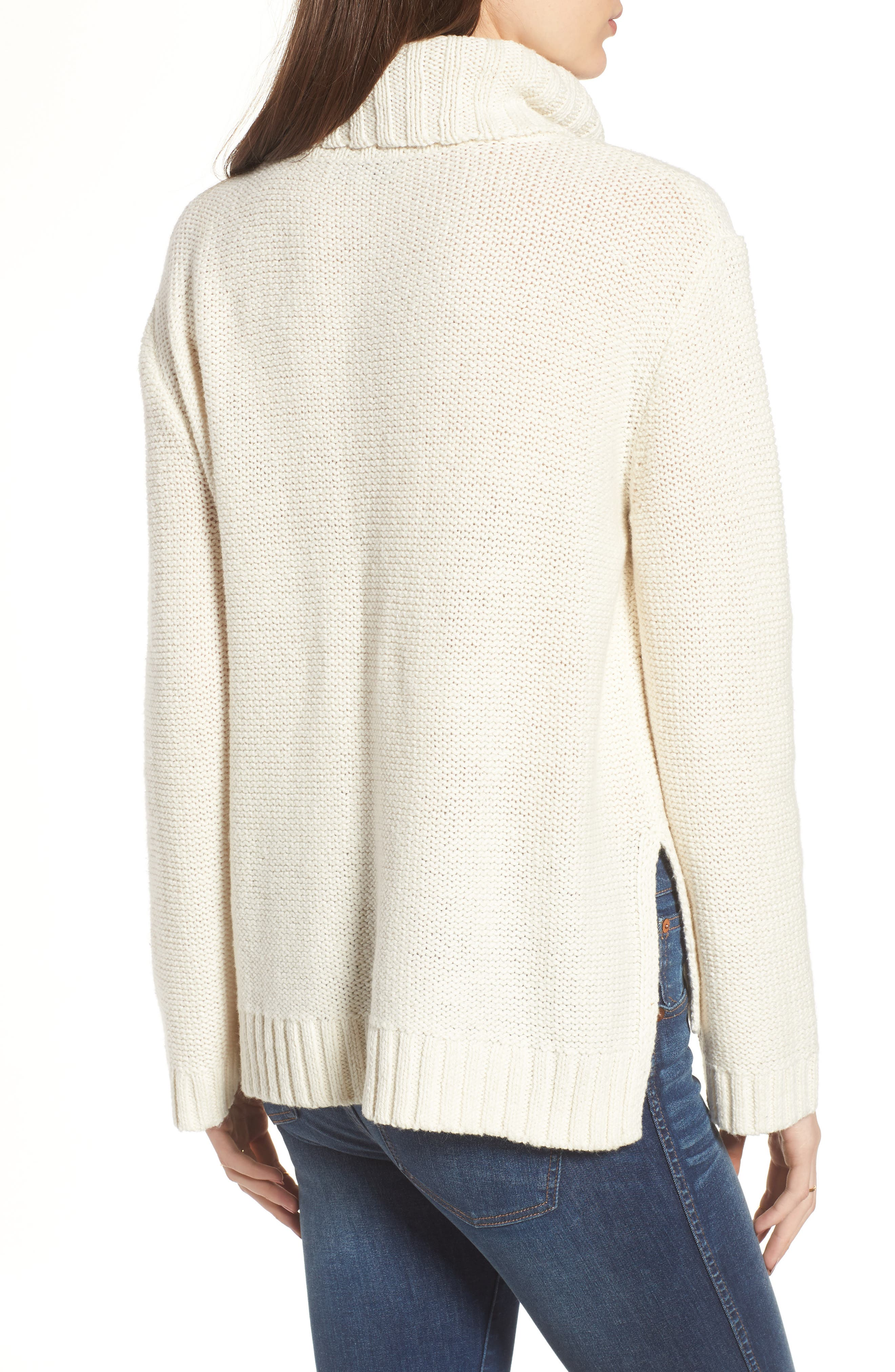 Flecked Turtleneck Sweater,                             Alternate thumbnail 2, color,                             Antique Cream