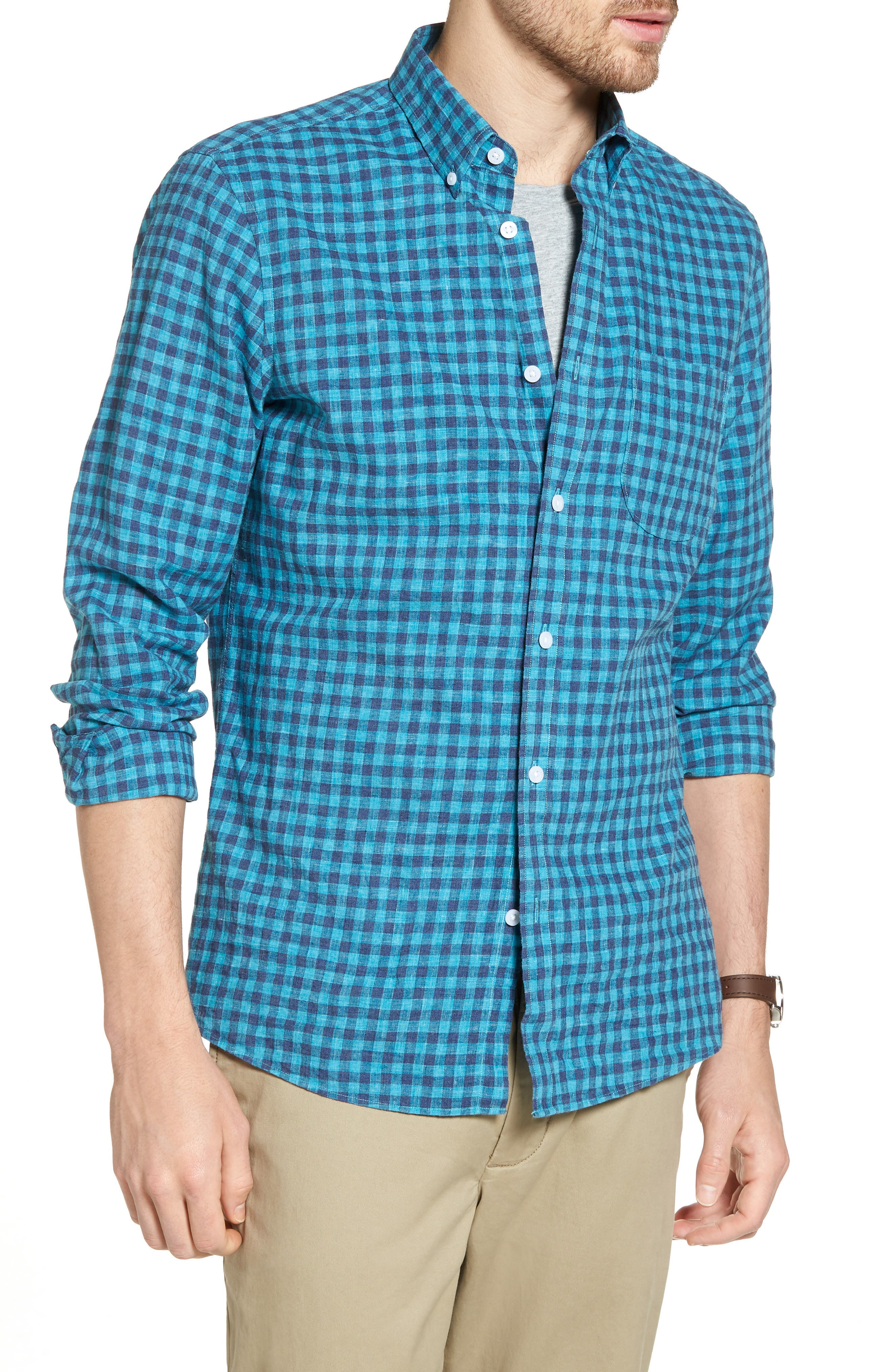Trim Fit Heather Gingham Linen Blend Sport Shirt,                         Main,                         color, Teal Mosaic Navy Check
