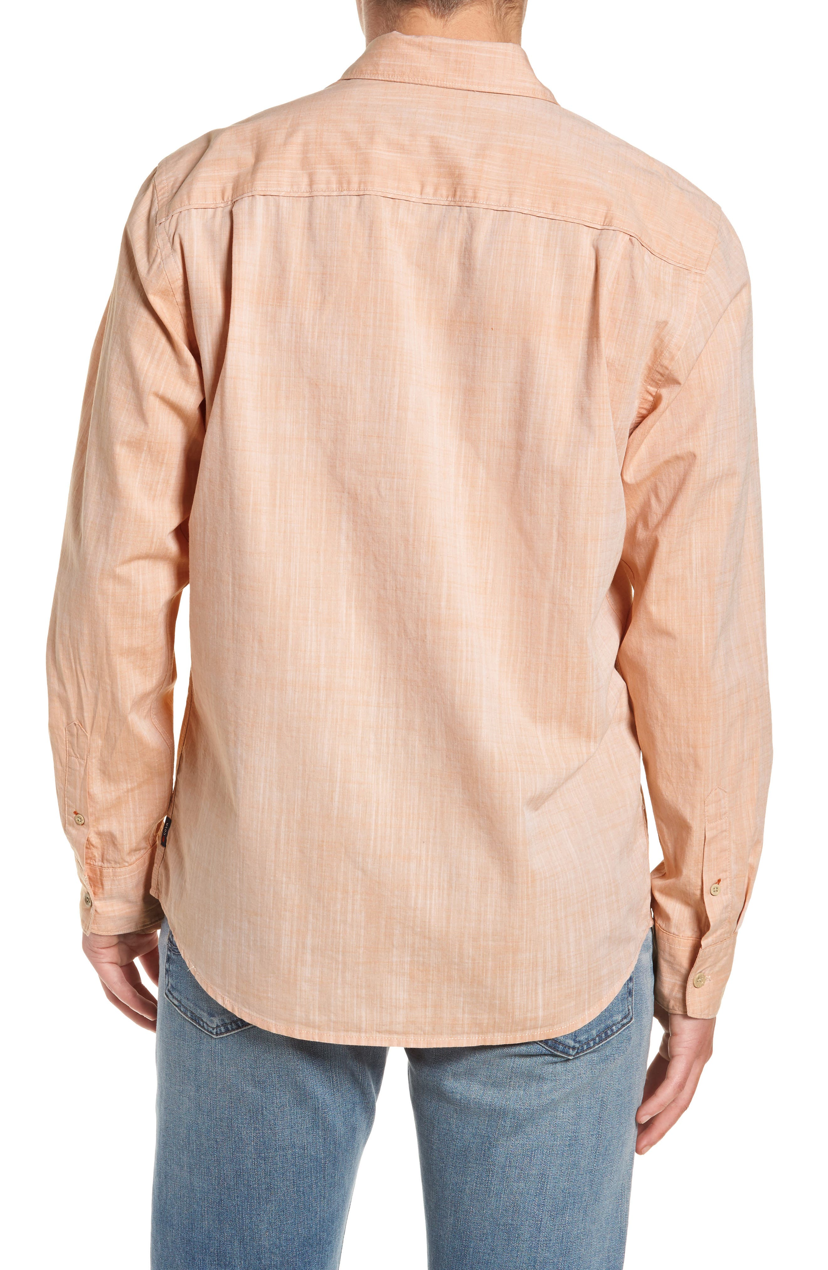Mai Tai Regular Fit Sport Shirt,                             Alternate thumbnail 3, color,                             Papaya