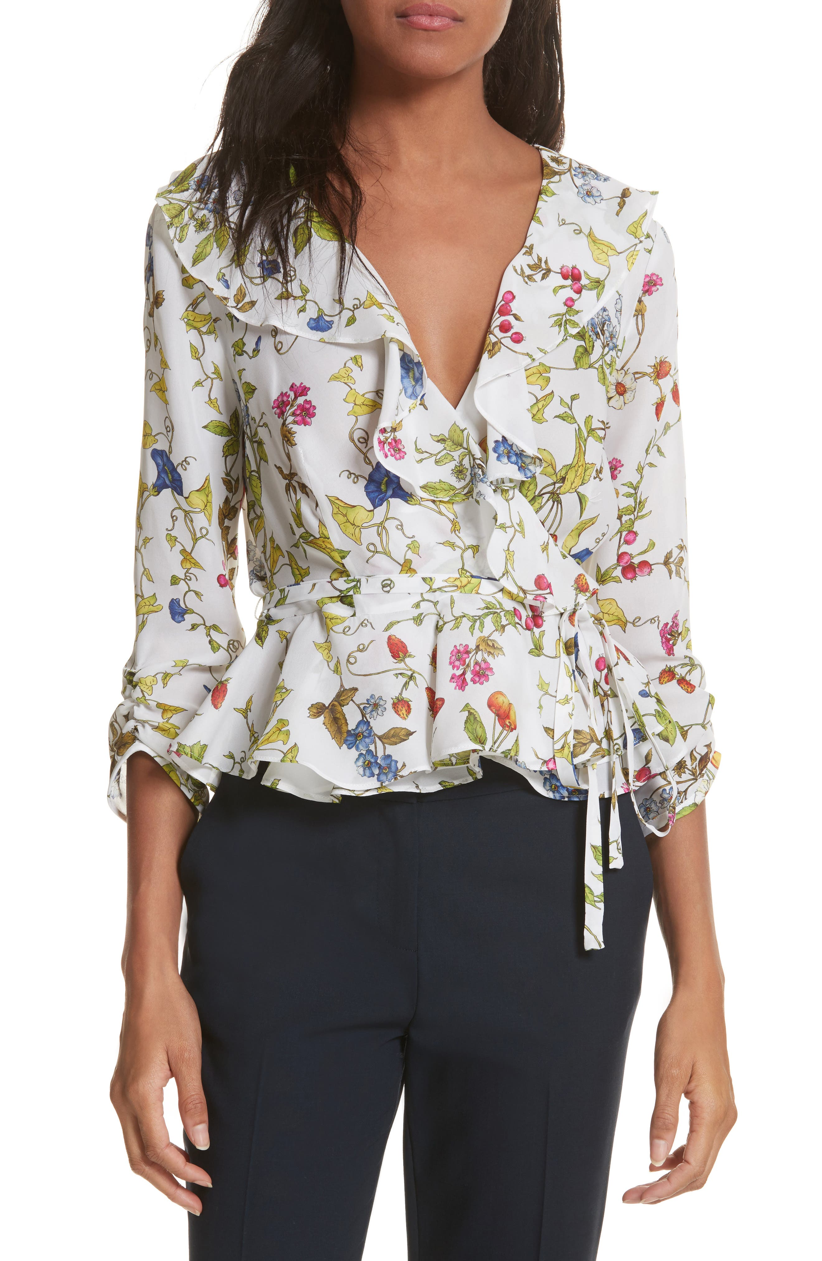 Milly Ruffle Silk Wrap Top