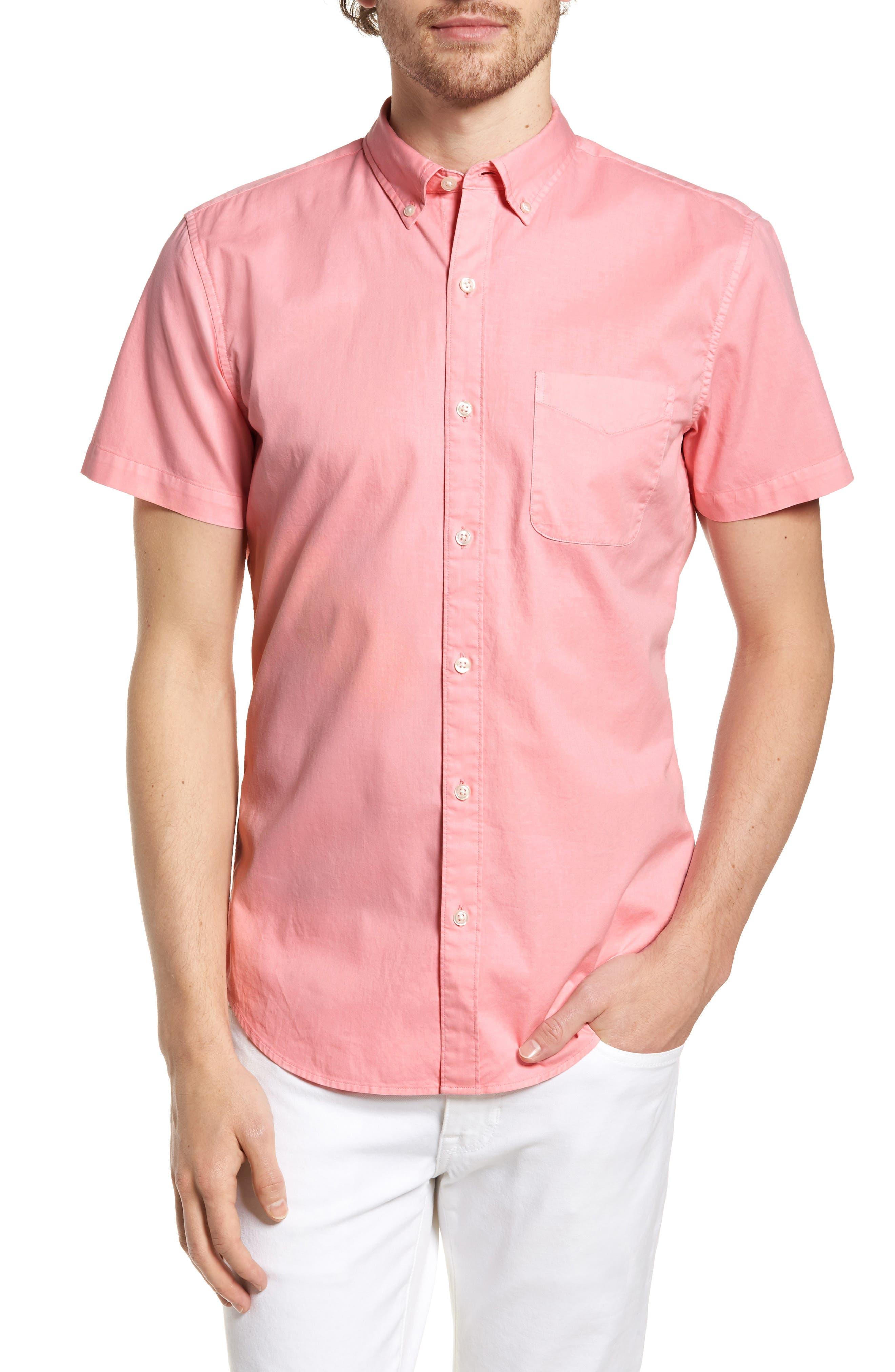 Slim Fit Short Sleeve Sport Shirt,                         Main,                         color, Garment Dye - Pacific Pink