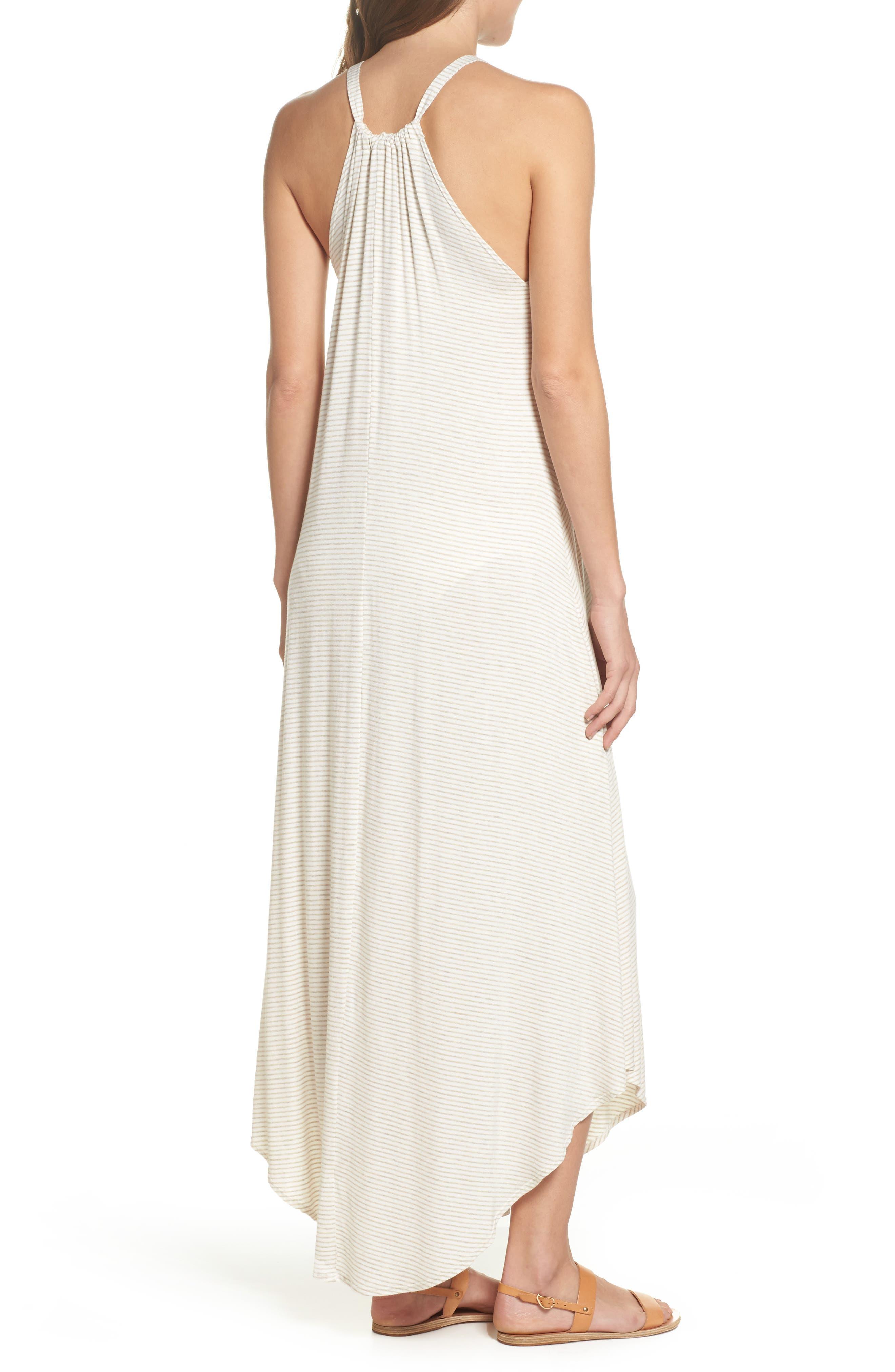 High Neck Cover-Up Dress,                             Alternate thumbnail 2, color,                             Natural Stripe