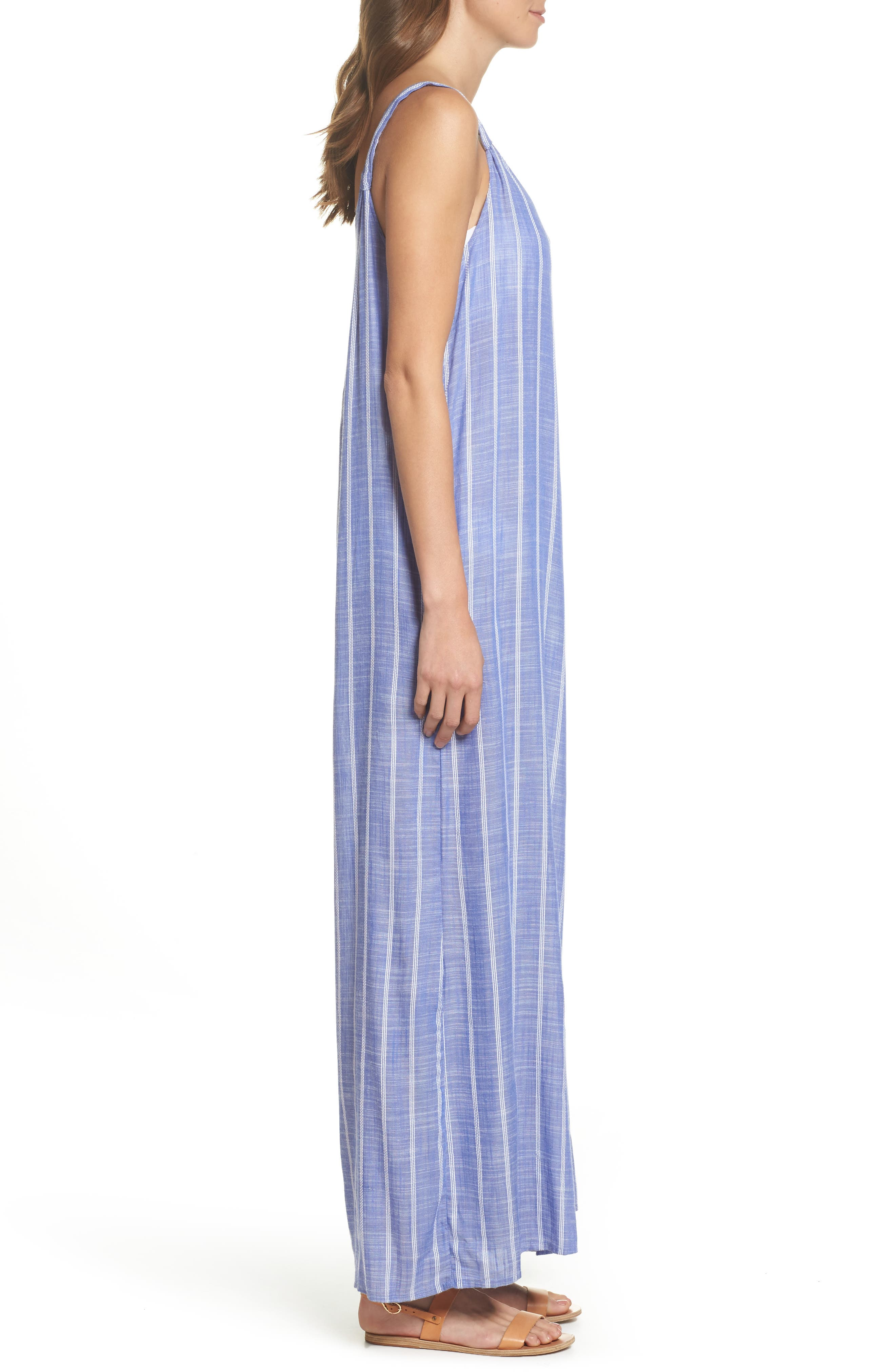 Cover-Up Jumpsuit,                             Alternate thumbnail 3, color,                             Blue Stripe (Chambray)