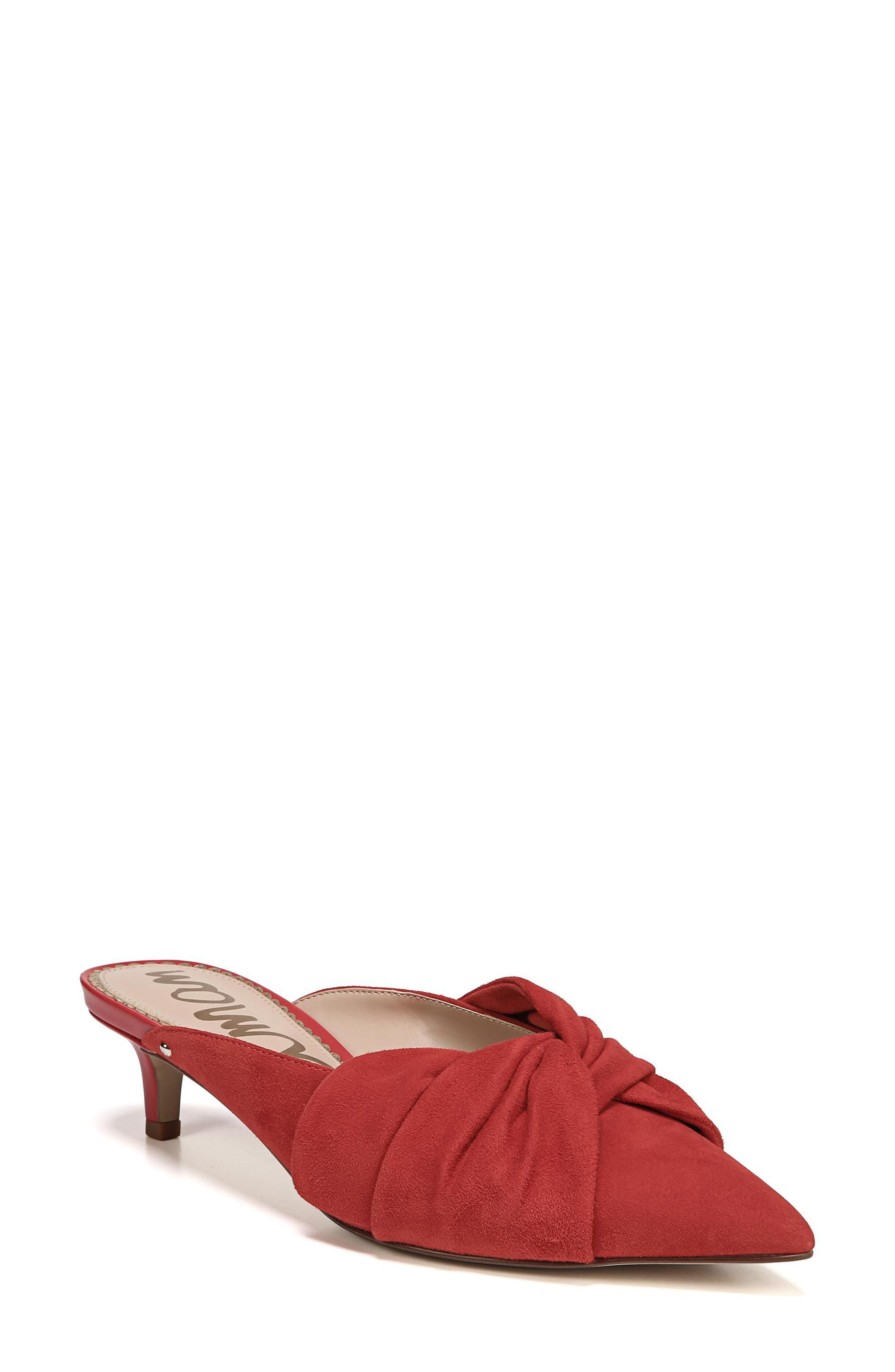 Laney Pointy Toe Mule,                             Main thumbnail 1, color,                             Candy Red Suede